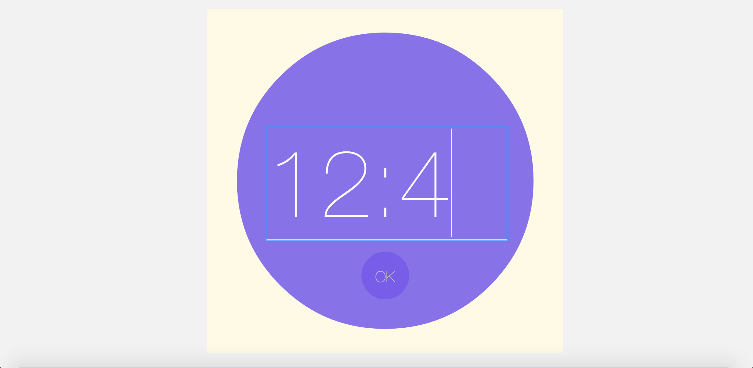 After inputting alarm time(12:43), people can hit OK to confirm.