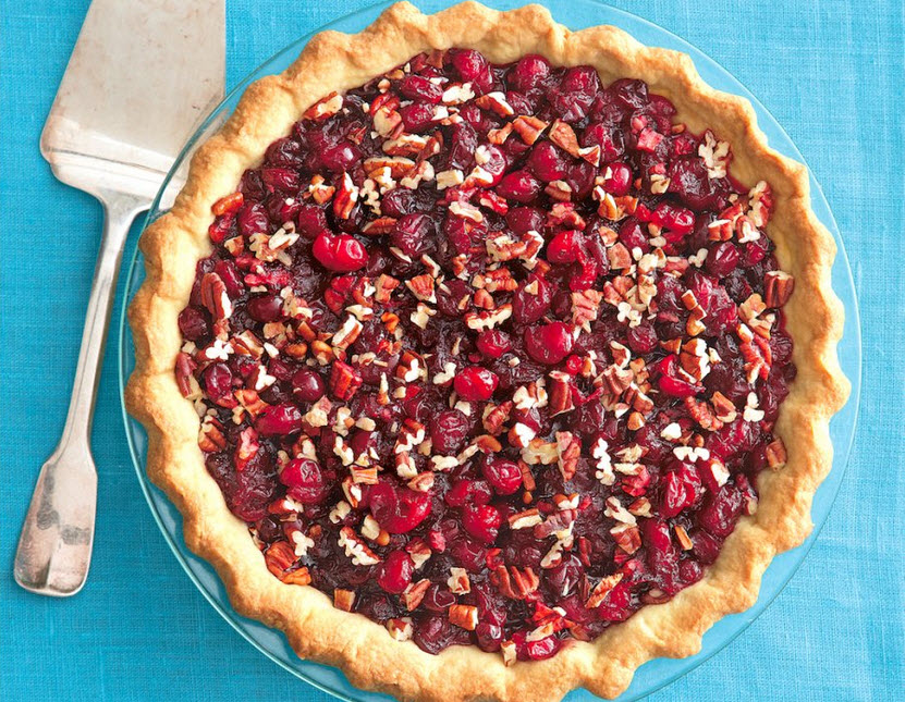 Beautifully simple cranberry pecan pie will be a welcome burst of tart, tangy flavor at your Thanksgiving table.