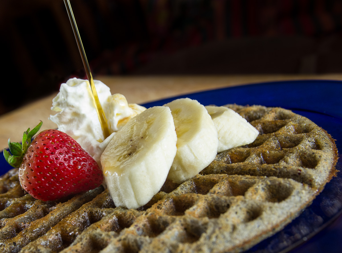 Gluten-free blue corn waffles with real & organic maple syrup