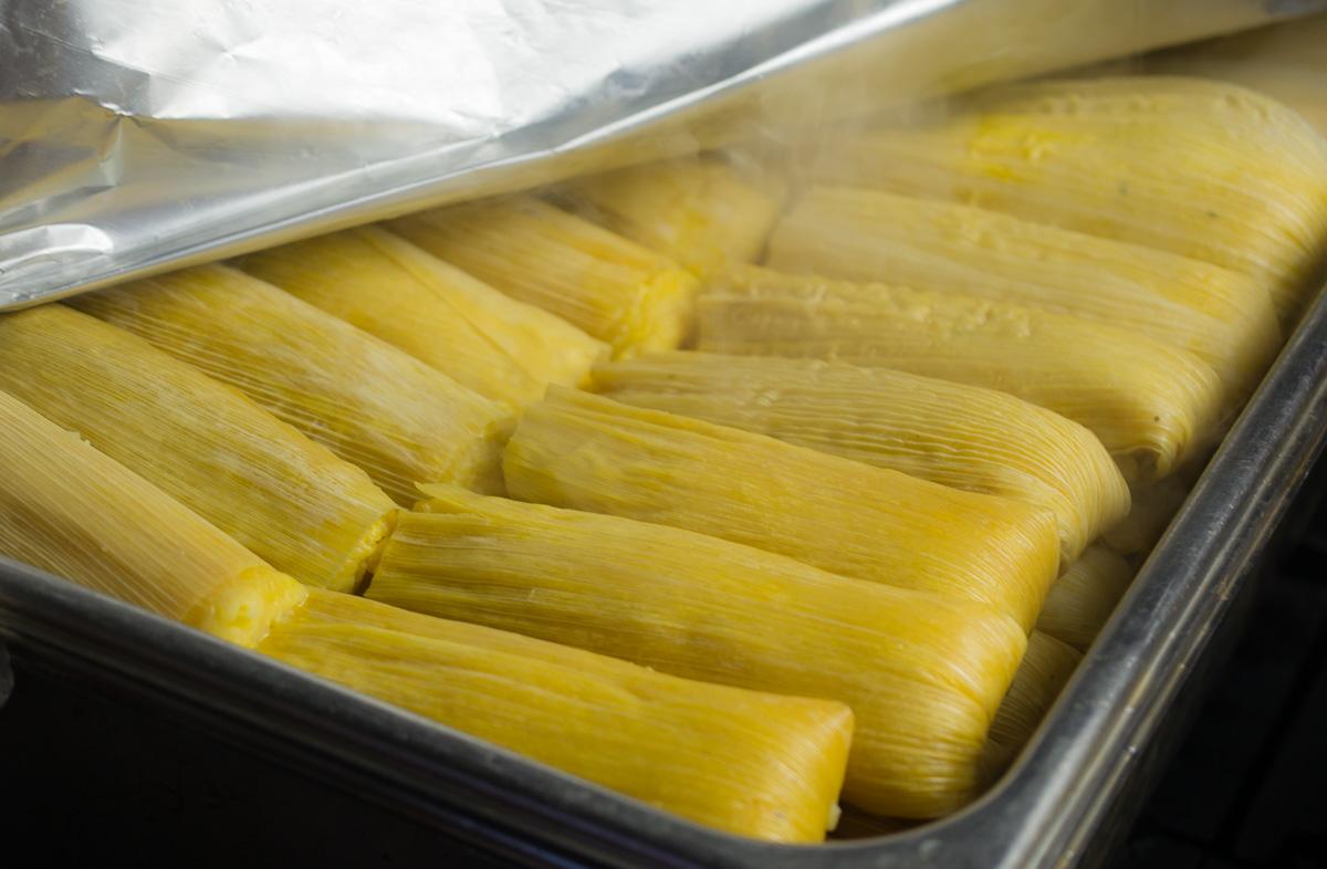 Fresh batch of tamales de elote