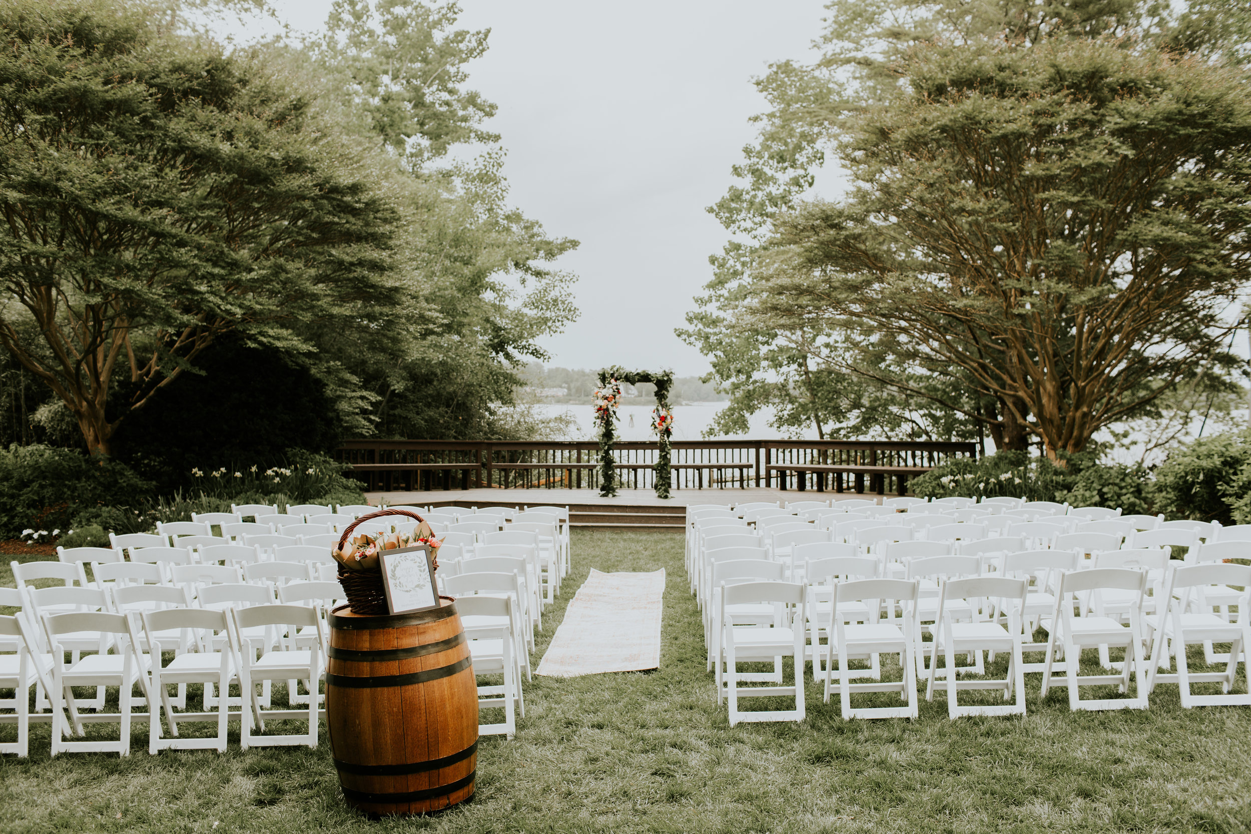 We couldn't have the ceremony outside anymore because it started to rain!! So we had to move it inside… but how gorgeous is this setup!!! :)