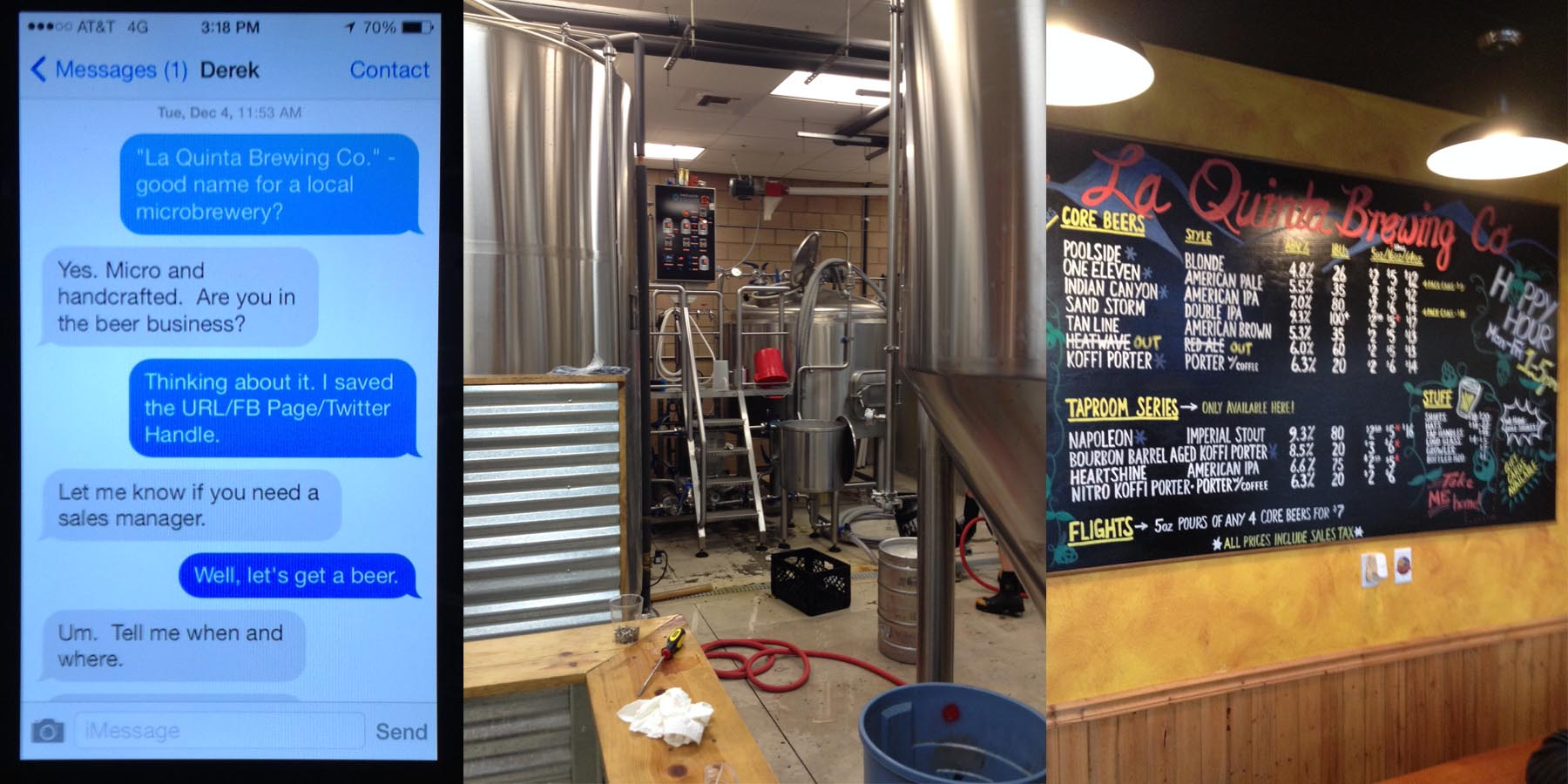 The phone pic is from slideshow on their taproom TV and is the text message conversation of how it all began.
