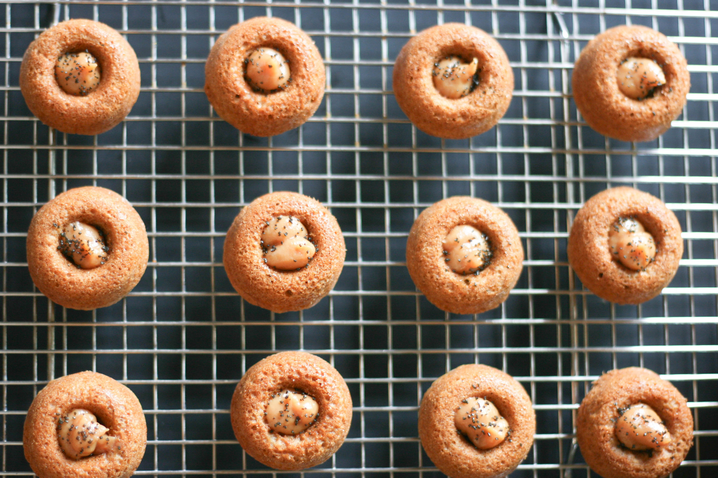 pumpkin donuts with cream cheese caramel filling