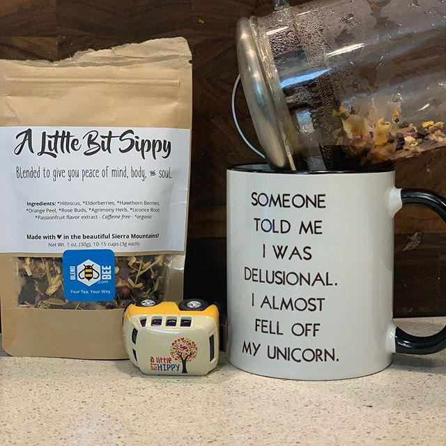 Got to try this delicious tea from @albhinc its amazing and a killer way to rock into Sunday!  #alittlebitsippy is damn good! . . . #tea #tealife #befreetotea #communityovercompetition #womenownedbusiness #herbal #idomyownstunts