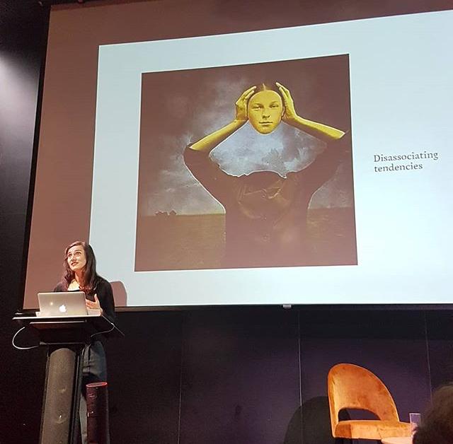 Kate Fletcher delivering her talk.