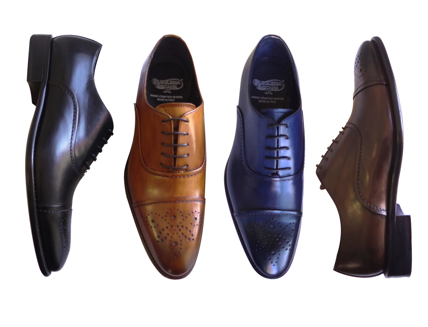 Style # 2361 :  Caramel, Black, Ocean Blue, Bruno   Hand-painted Cayenne Calf Oxford  Sizes available: 7 to 14 US, including half sizes; 15 to 18 US, full sizes only