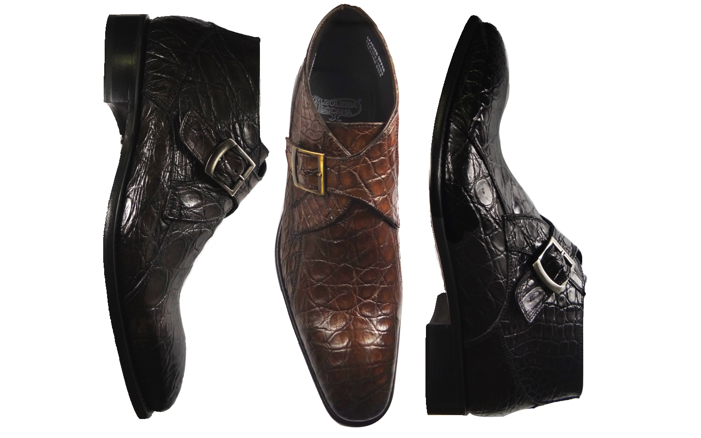 Style # 8306: Stone, Cerris, Black  Caiman Flanks Handpainted Monk Strap Demi Boot   Sizes available: 41 to 47 EU, including half sizes
