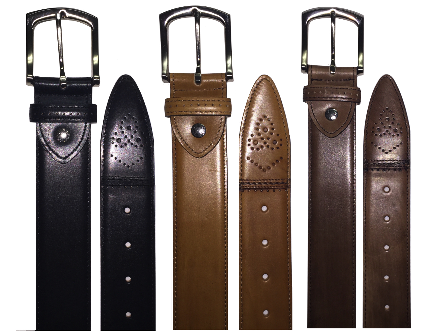 Style # C200: Black, Chestnut, Brown  Hand-painted Cayenne Calf Perforated 40MM Dress belt  Sizes available: 38 to 48 waist