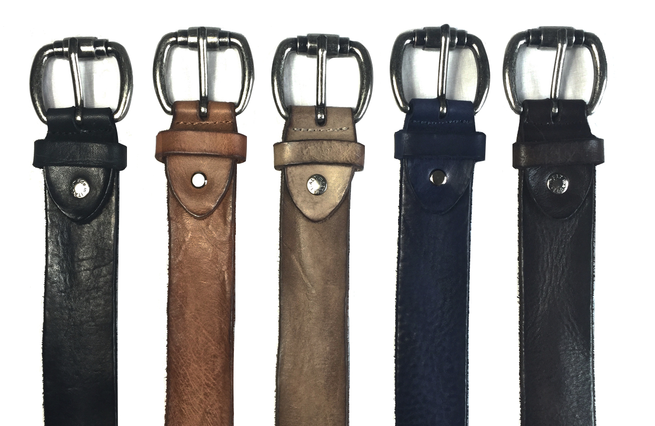 Style # C3064: Black, Brick, Moor, Navy, Brown  Calf Dip-Dyed Vintage 40MM Belt  Sizes available: 38 to 48 waist