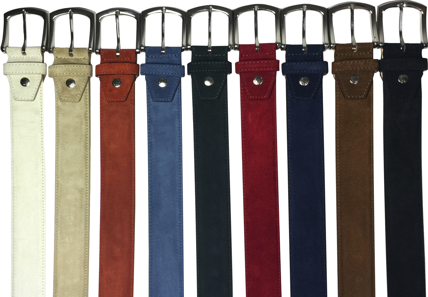 Style #C2218: Cream,   Sand, Cerris, Jean, Slate, Red, Navy, Brick, Black  Velour Suede 40MM Belt  Sizes available: 38 to 48 waist