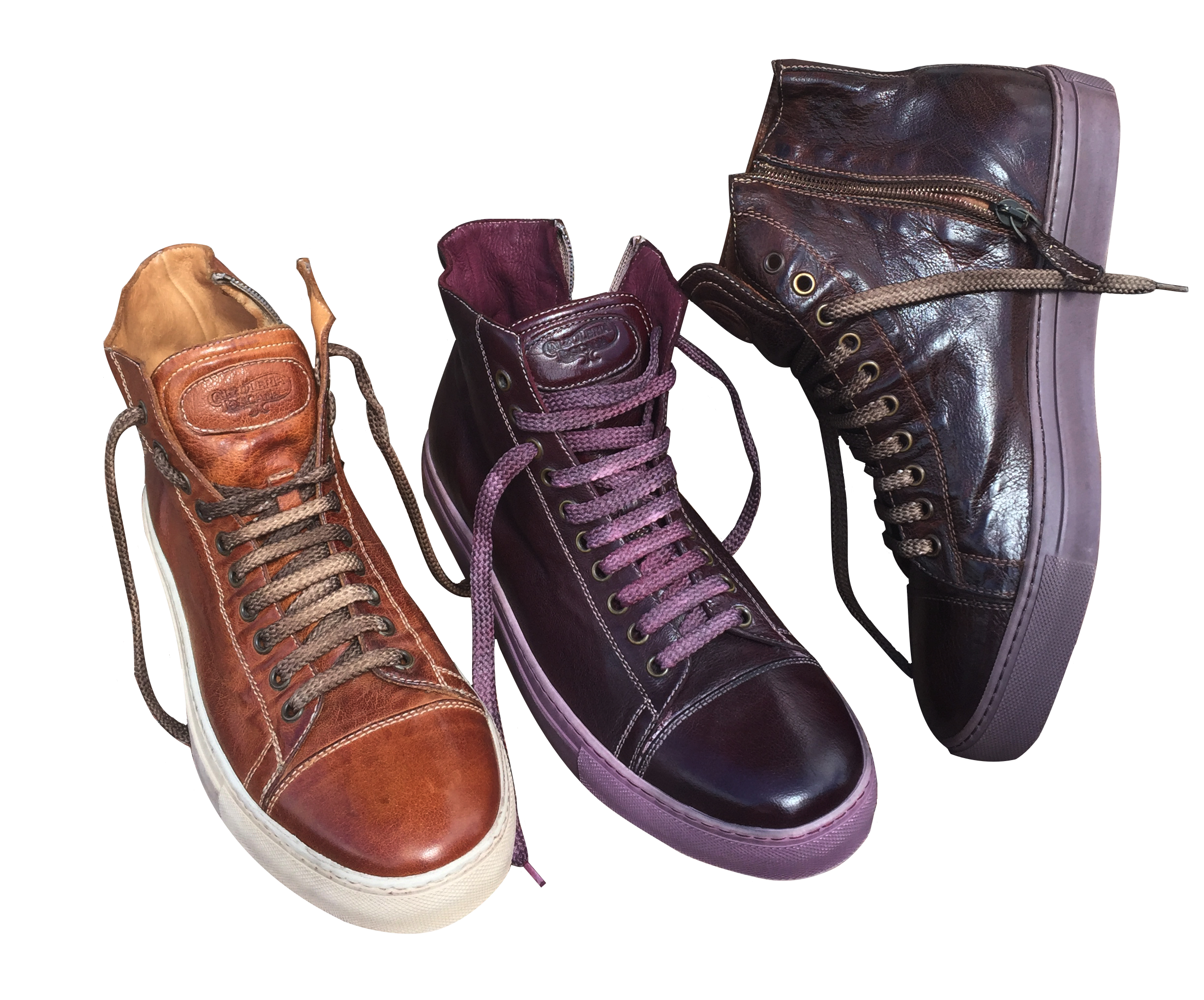 Style # 1242: Brick, Burgundy, Dark Brown  Dip-Dyed Buffalo Calf Leather High-Top  Sizes available :  7 to 14 US, including half sizes; 15 to 18 US, full sizes only