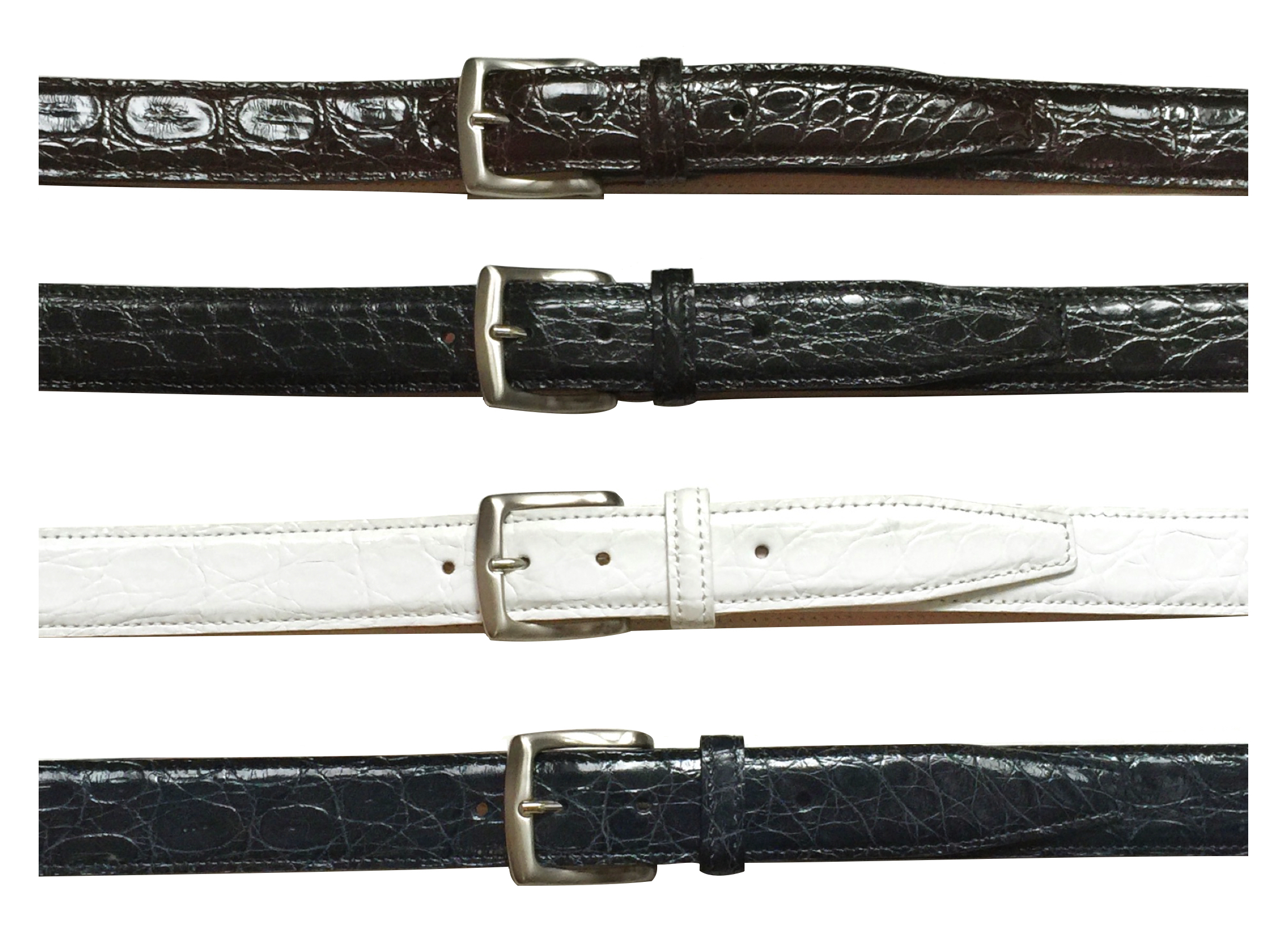 Style # C8741: Brown, Black, White, Navy  Caiman Flanks 35MM Belt  Sizes available: 38 to 46 waist