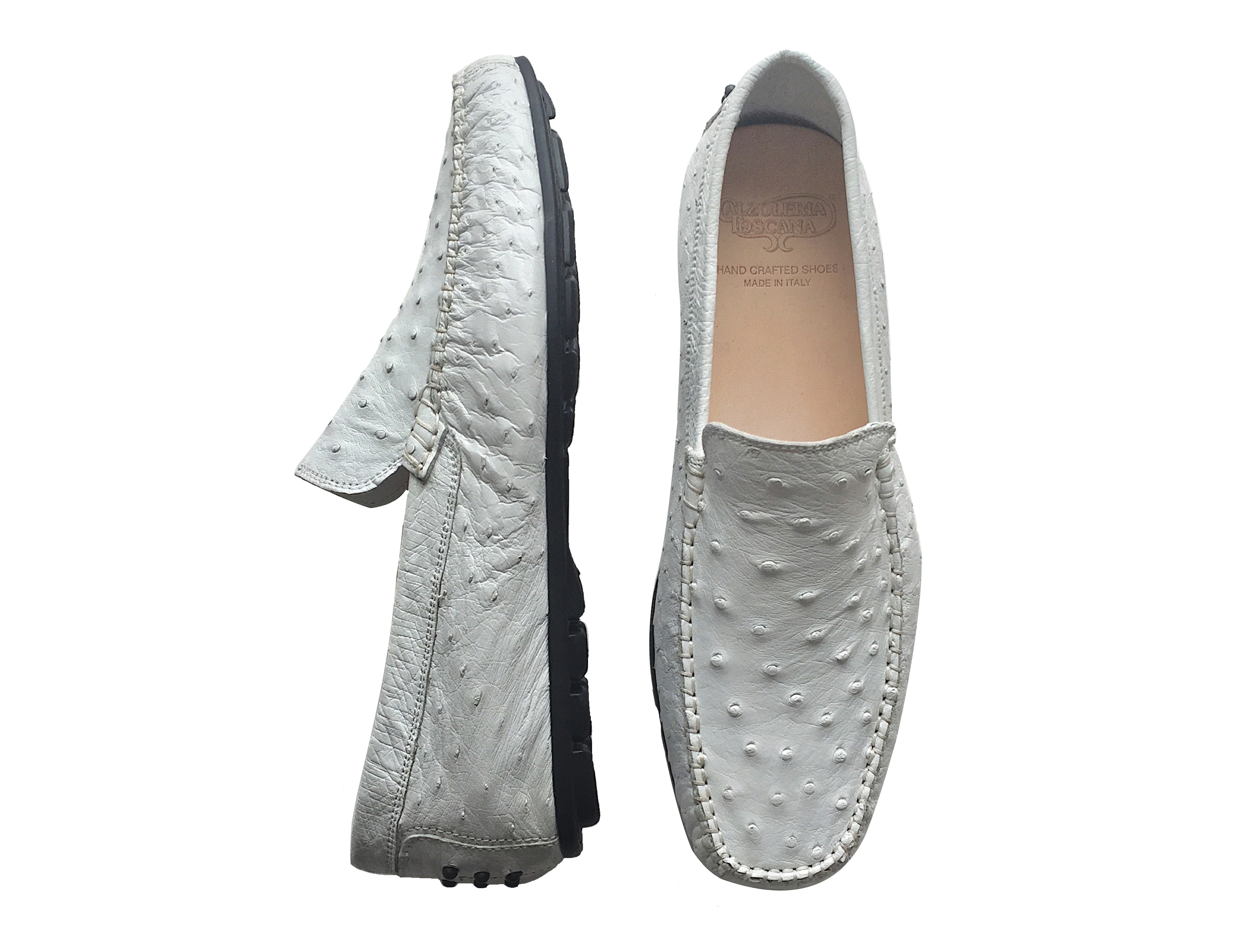 Style # 2408: White  Dip-Dyed Ostrich Slip On  Sizes available:   8 to 14 US, including half sizes