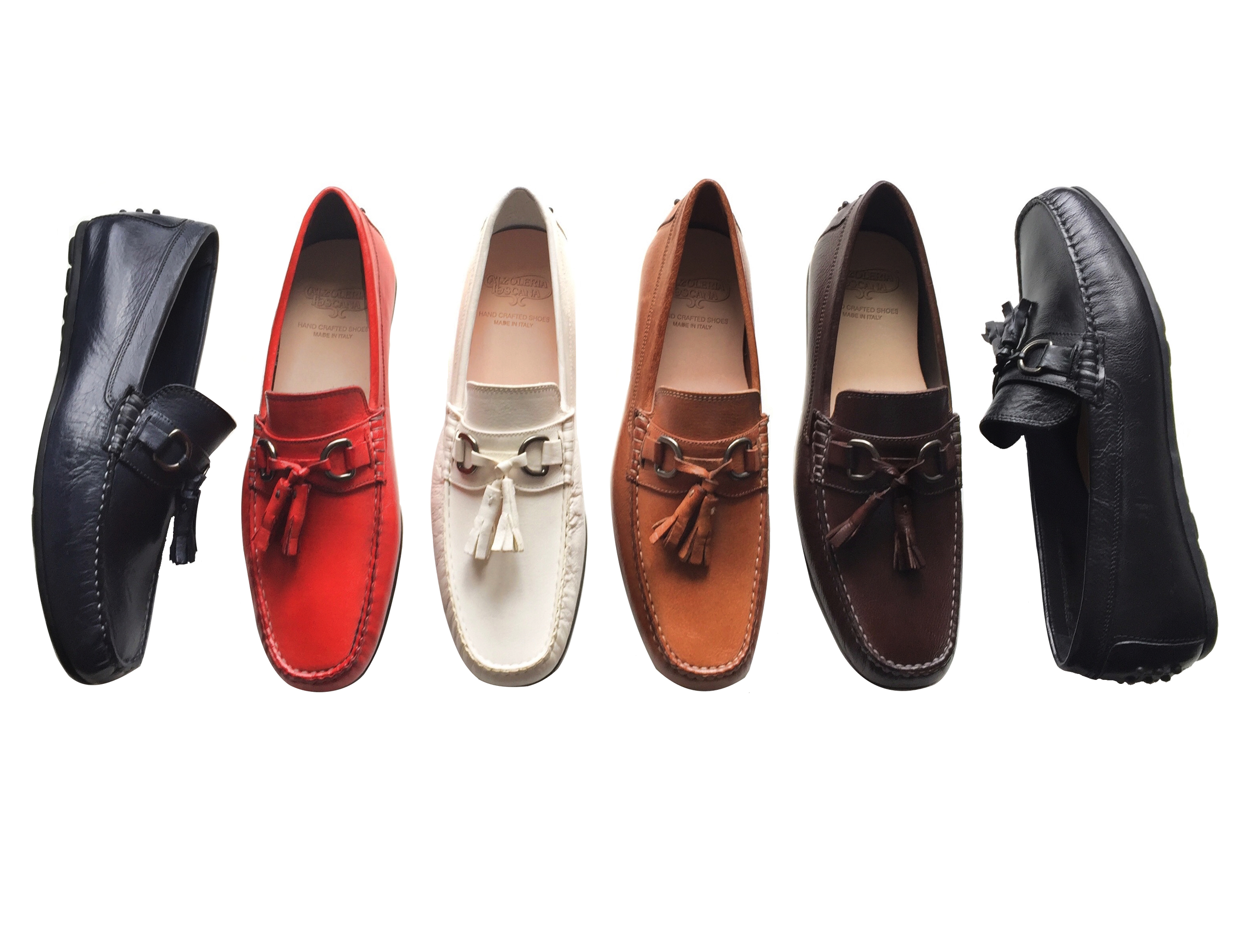 Style # 2907: Blue, Red, White, Brick, Brown, Black   Buffcalf Tassel Slip on feat. rubber bottom  Sizes available:   41 to 47 EU, full sizes only