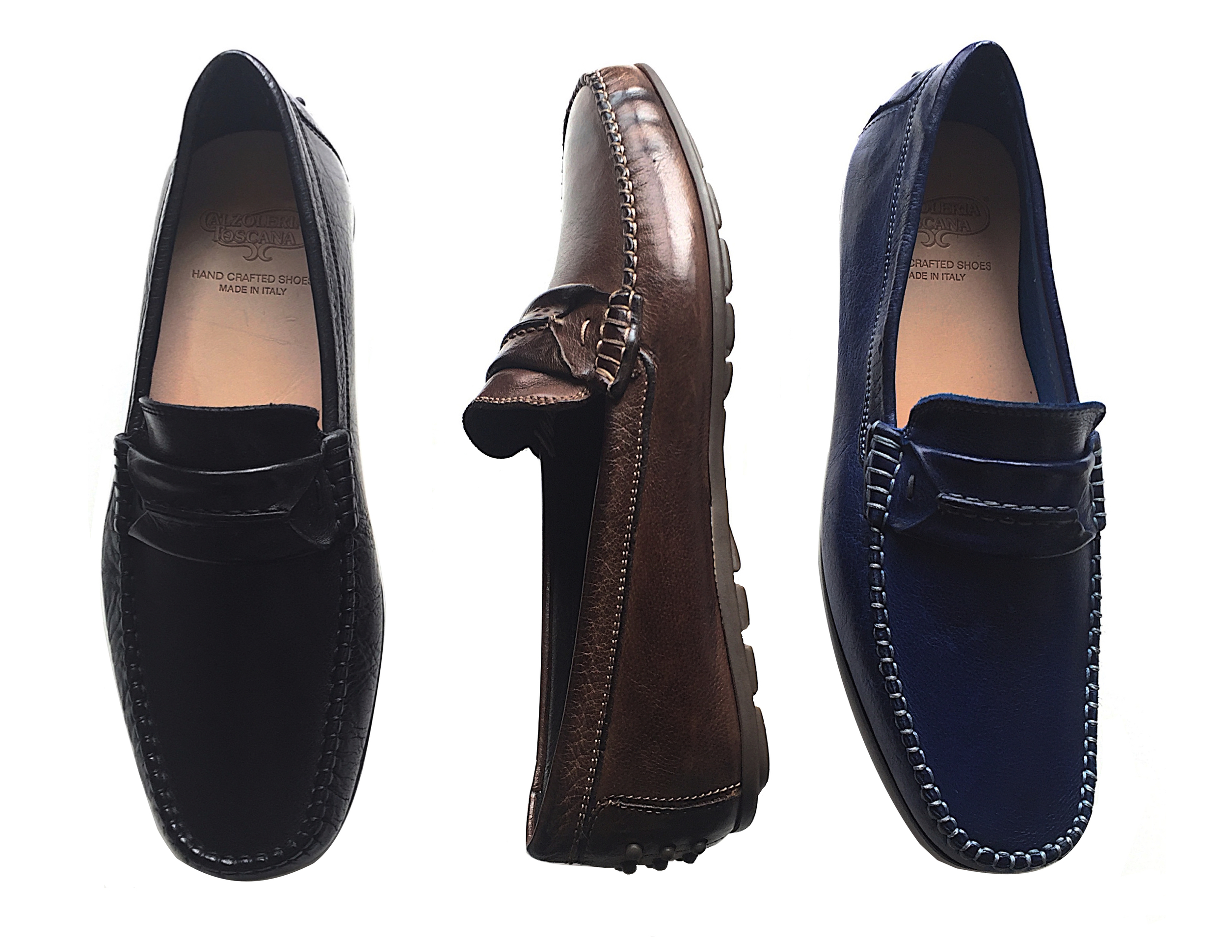 Style # 3905: Black, Moor, Indigo Blue  Dip-Dyed Buffcalf Slip on feat. rubber bottom  Sizes available: 8 to 14, full sizes only