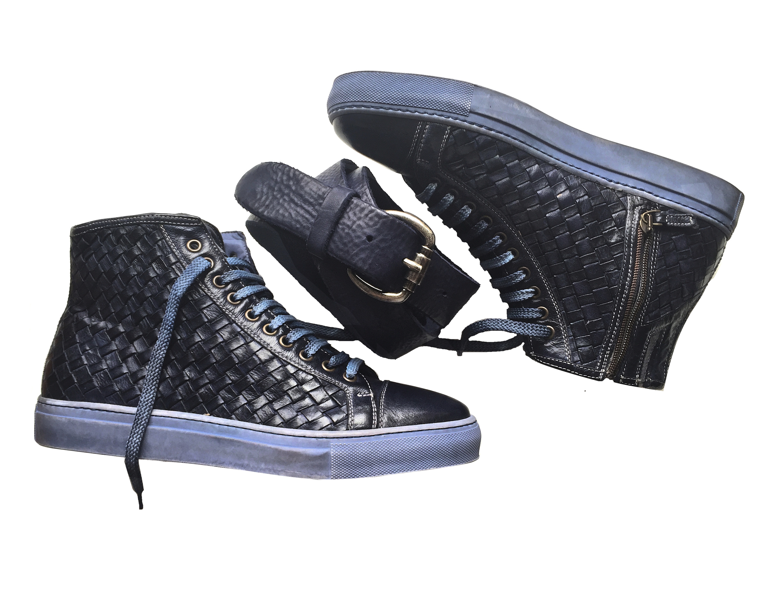 Style # 9996: Blue  Dip-Dyed Woven Buffalo Calf Leather High-Top  Sizes available :  7 to 14 US, including half sizes; 15 to 18 US, full sizes only