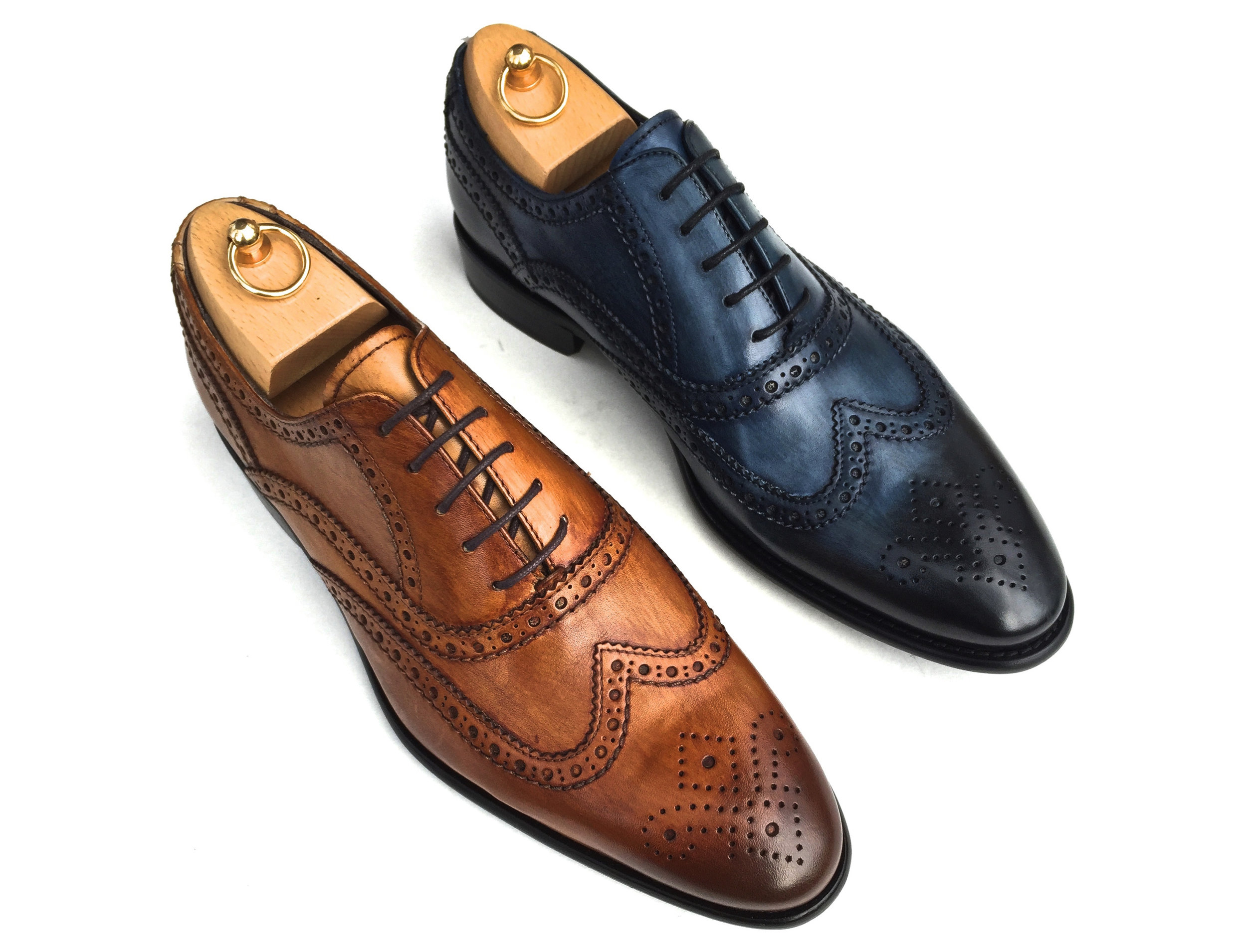 Style # 1972: Chestnut, Ocean  Hand-painted Cayenne Calf Oxford  Sizes available: 7 to 14 US, including half sizes