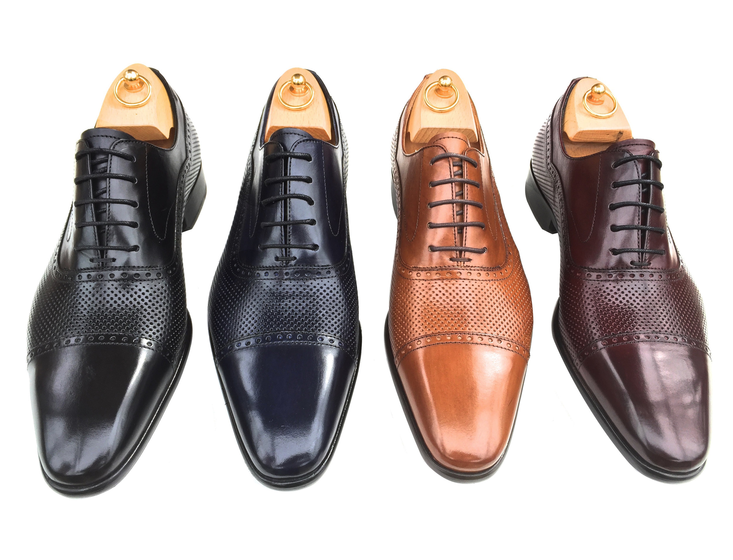 Z192: Navy, Cognac, Black, Burgundy  Parma Calf Perforated Cap Toe  Sizes available: 8-14, including half sizes; 15-18, full sizes only