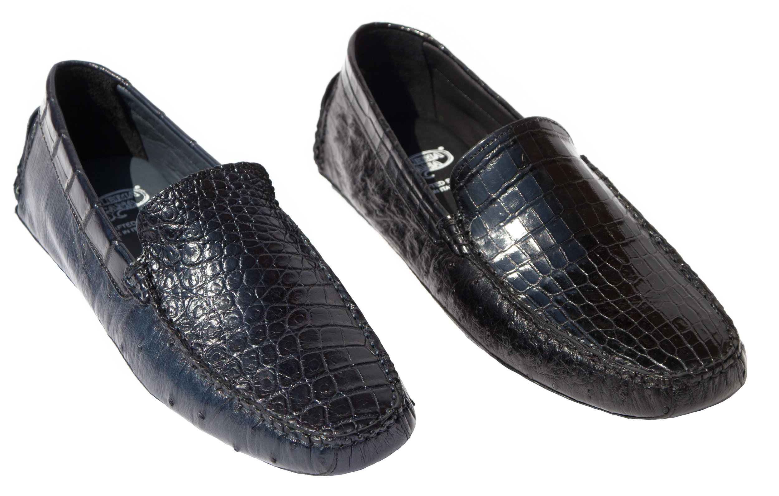 Style # 8675: Navy, Black,   Ostrich Quill /Baby Nile Crocodile Driver  Sizes available: 9   to 14 US, including half sizes