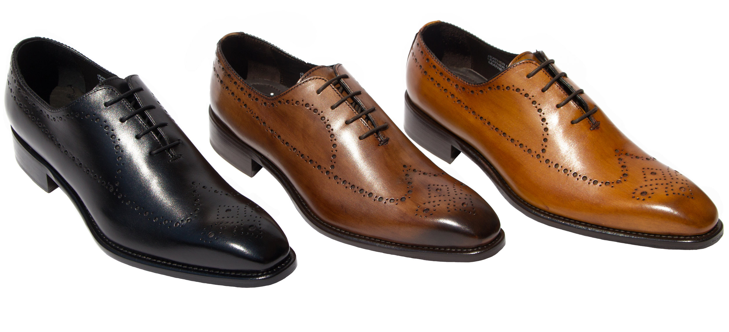 Style # 8712: Black, Brown, Chestnut  Hand-painted Cayenne Calf Perforated Wingtip (Wholecut)  Sizes available: 7 to 14 US, including half sizes
