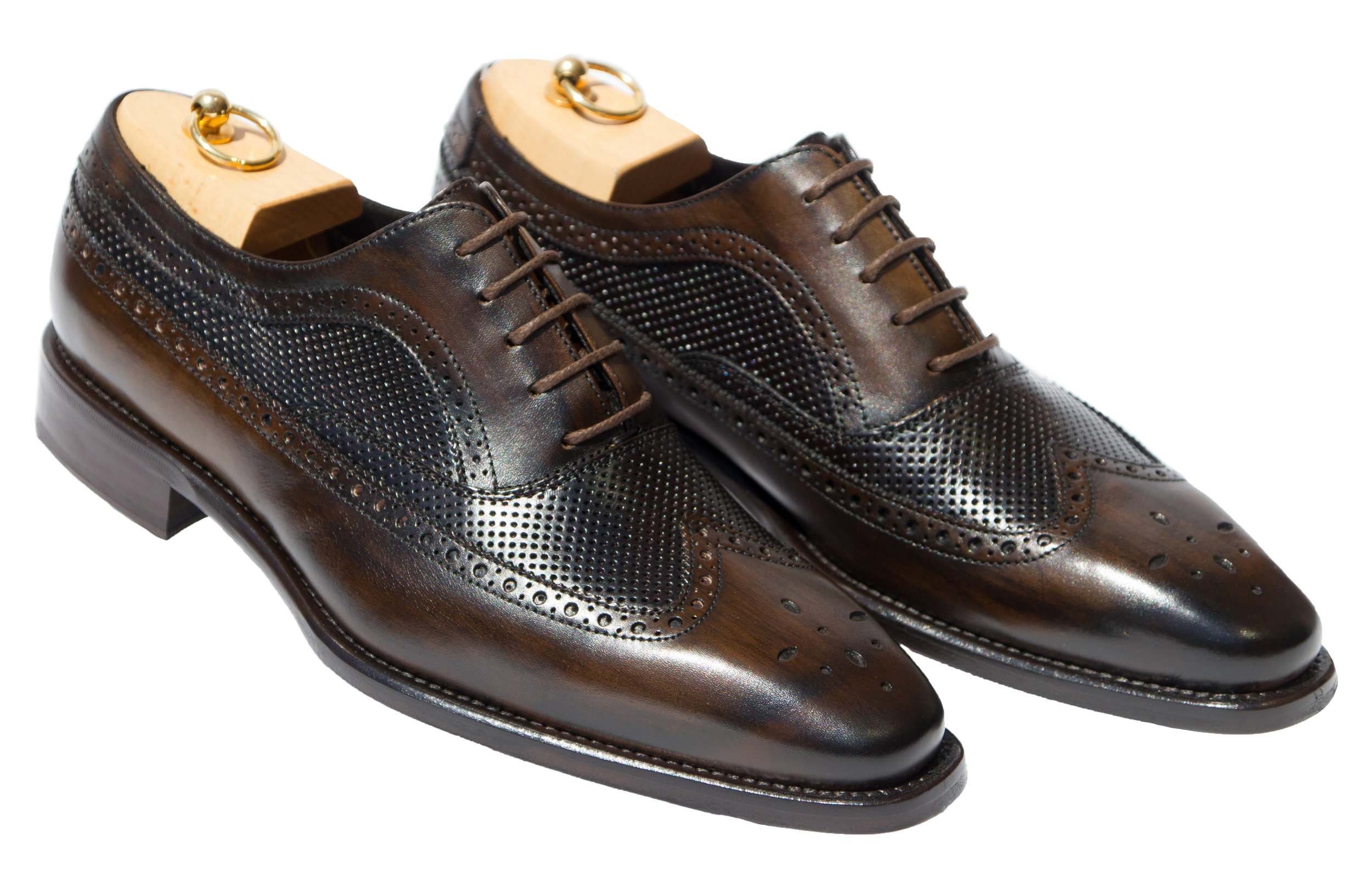Style # H165: Dark Brown  Handpainted Cayenne Calf Wingtip Balmoral  Sizes available: 7 to 14 US, including half sizes; 15 to 18, full sizes only