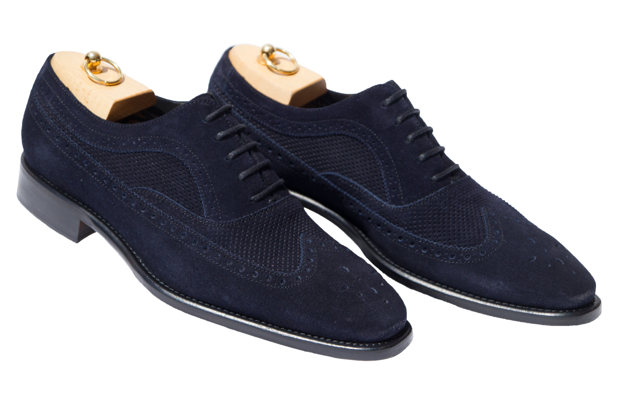 Style # H165: Navy Blue  Velour Suede Wingtip Balmoral  Sizes available: 8 to 16 US, including half sizes
