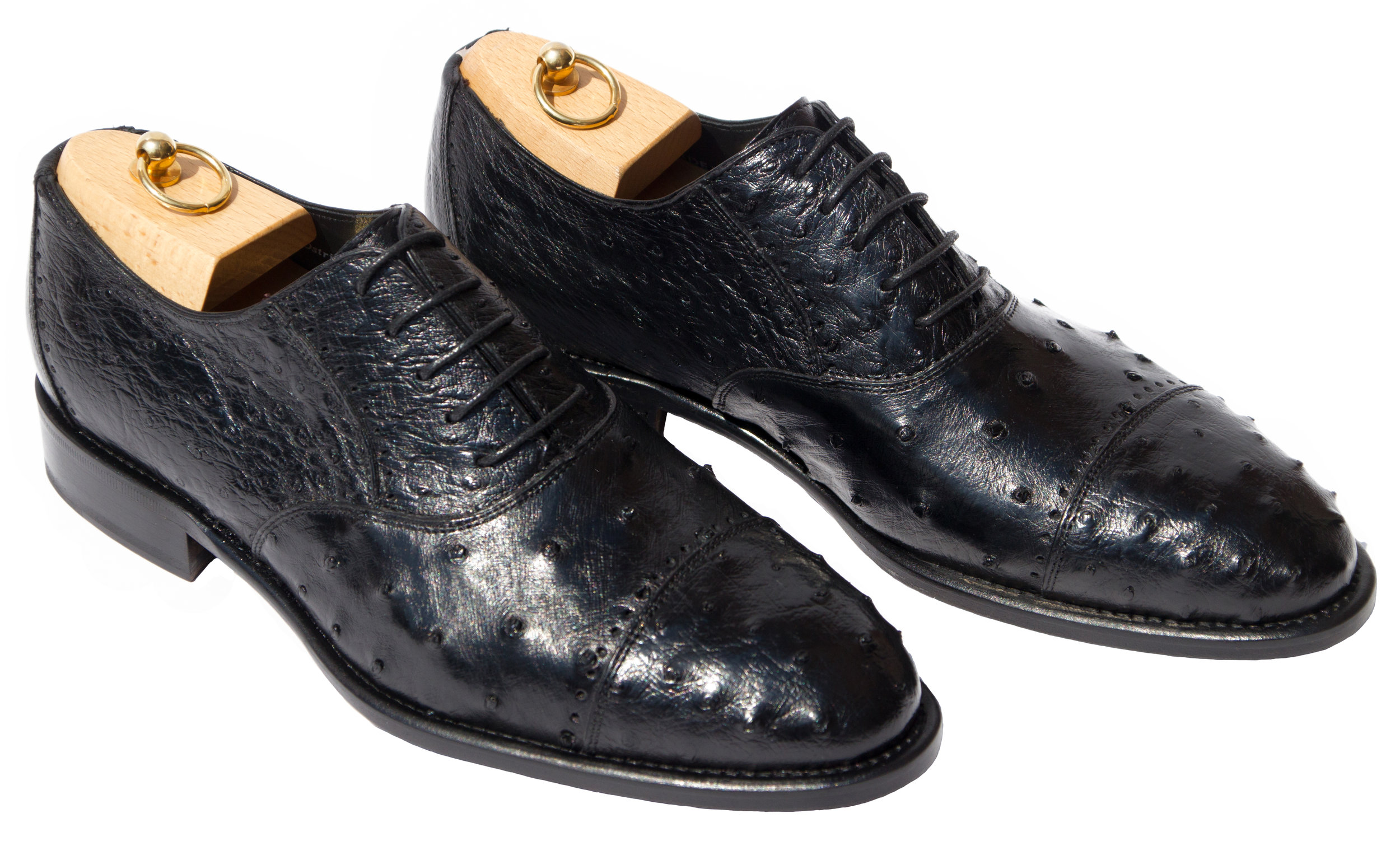 Style # H777: Black  Ostrich Quill Cap Toe Balmoral Lace-Up  Sizes available: 7 to 13 US, including half sizes
