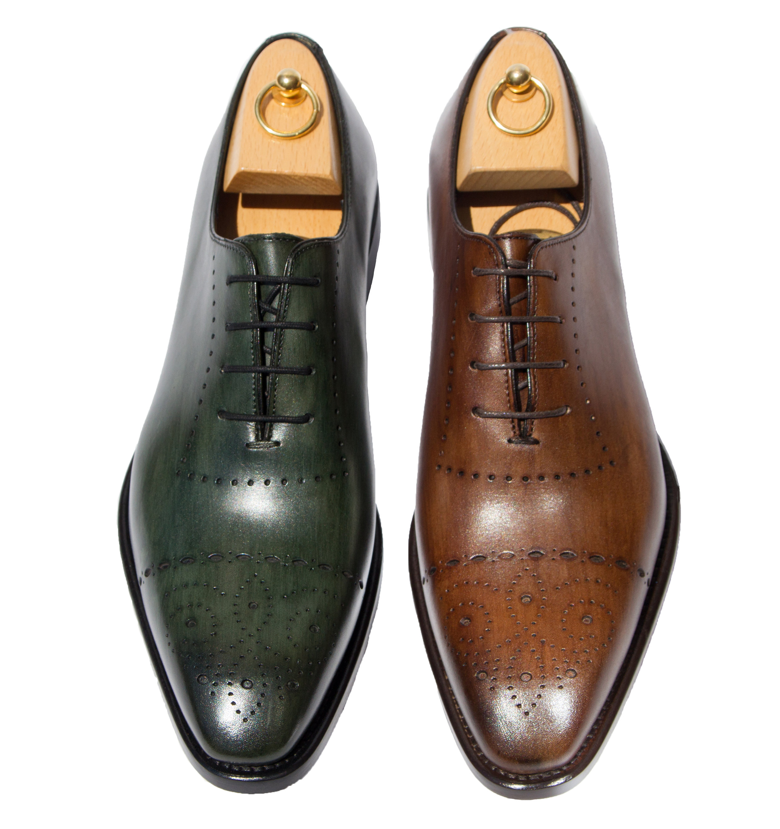 Style #5246 : Emerald Green, Cerris  Hand-painted Cayenne Calf Oxford  Sizes available: 7-14, including half sizes