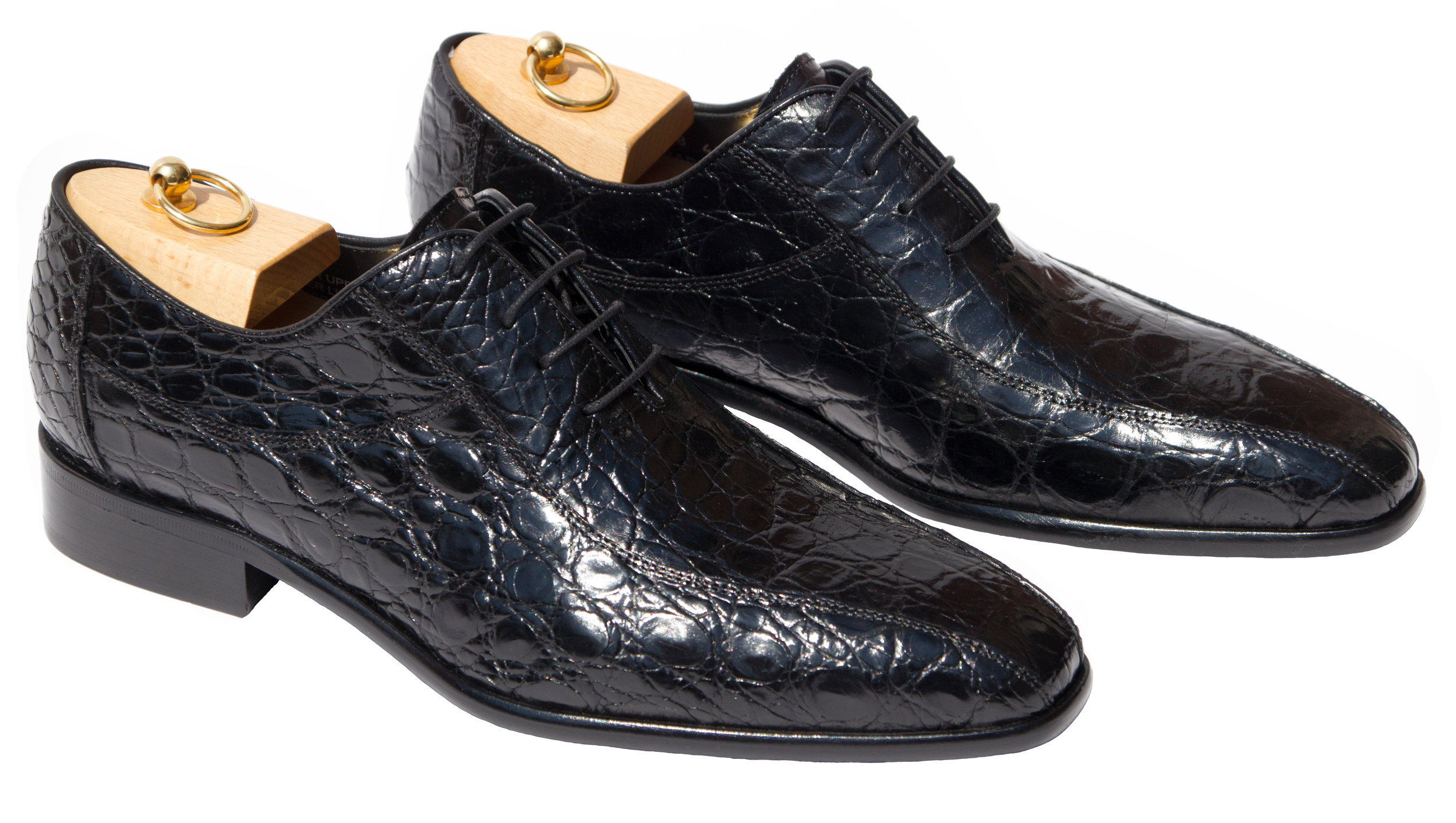 Style # H778: Black  Alligator Flanks Balmoral Lace-Up  Sizes available: 8 to 15 US, including half sizes