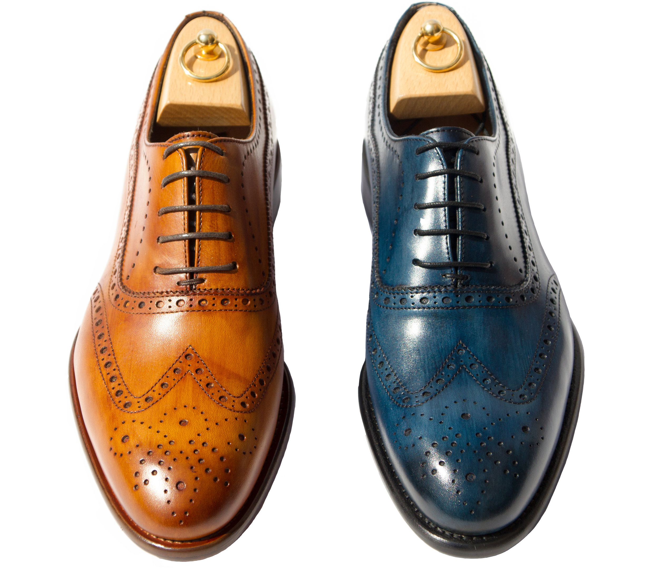 Style # H742: Dark Caramel, Ocean Blue  Handpainted Cayenne Calf Wingtip Balmoral  Sizes available: 8 to 14 US, including half sizes