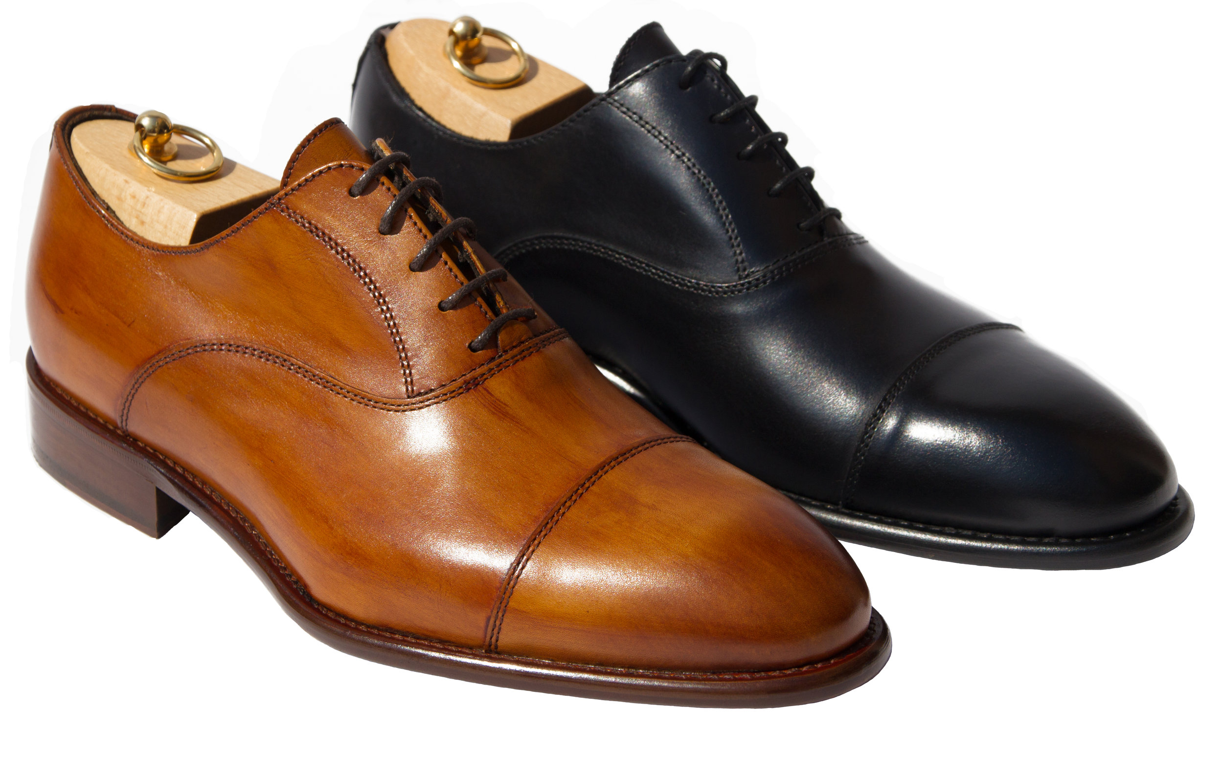 Style # 2571: Caramel, Black  Handpainted Cayenne Calf Oxford Cap Toe  Sizes available: 8 to 15 US, including half sizes