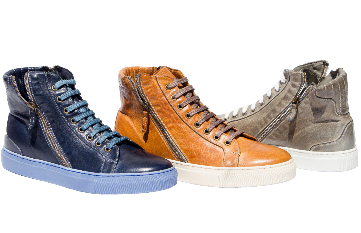 Style # H490: Navy Blue, Brick, Cloud  Dip-Dyed Buff Calf Double Zipper High-Top  Sizes available: 7 to 18 US, full sizes only
