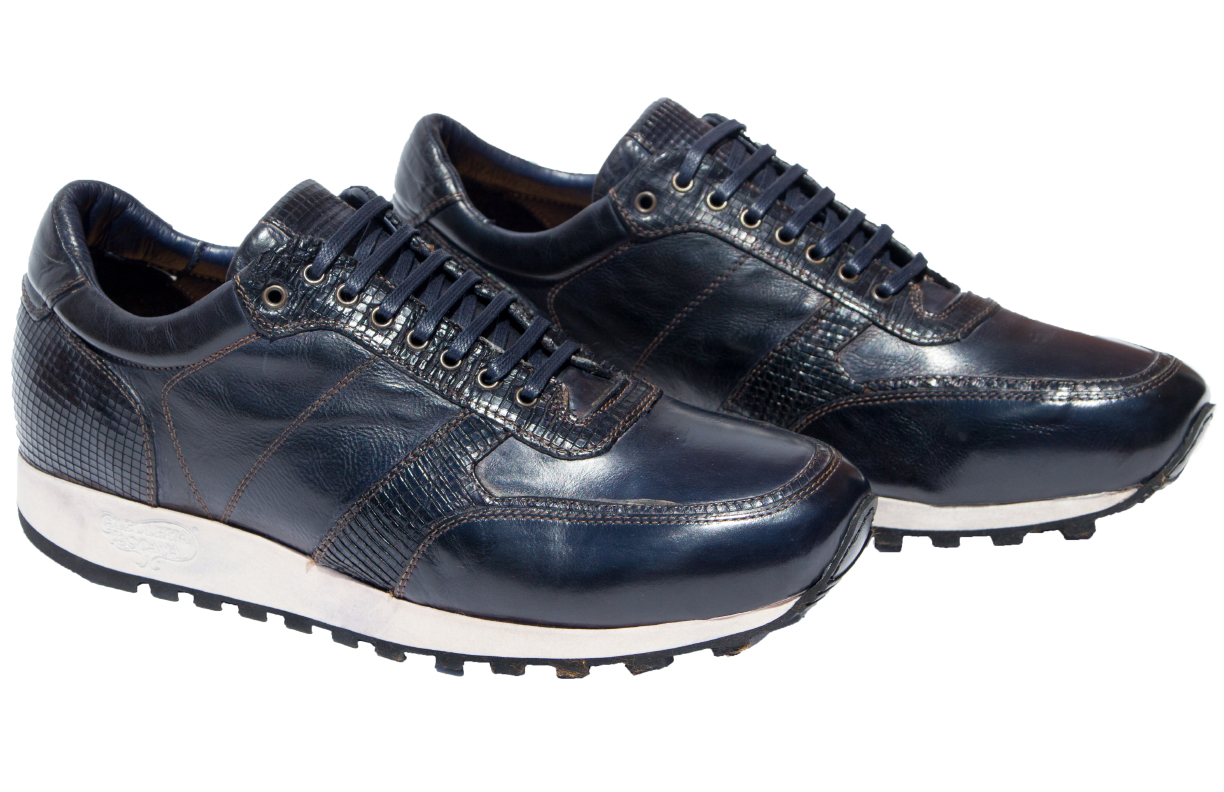 Style # H703: Navy Blue  Dip-Dyed Diver Calf European Runner  Sizes available: 7 to 15 US, including half sizes