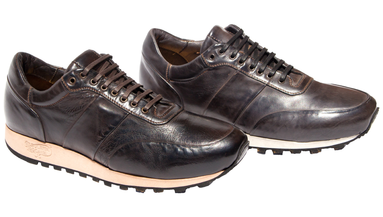 Style # H704: Dark Brown, Stone Grey  Dip-Dyed Diver Calf European Runner  Sizes available: 7 to 15 US, including half sizes