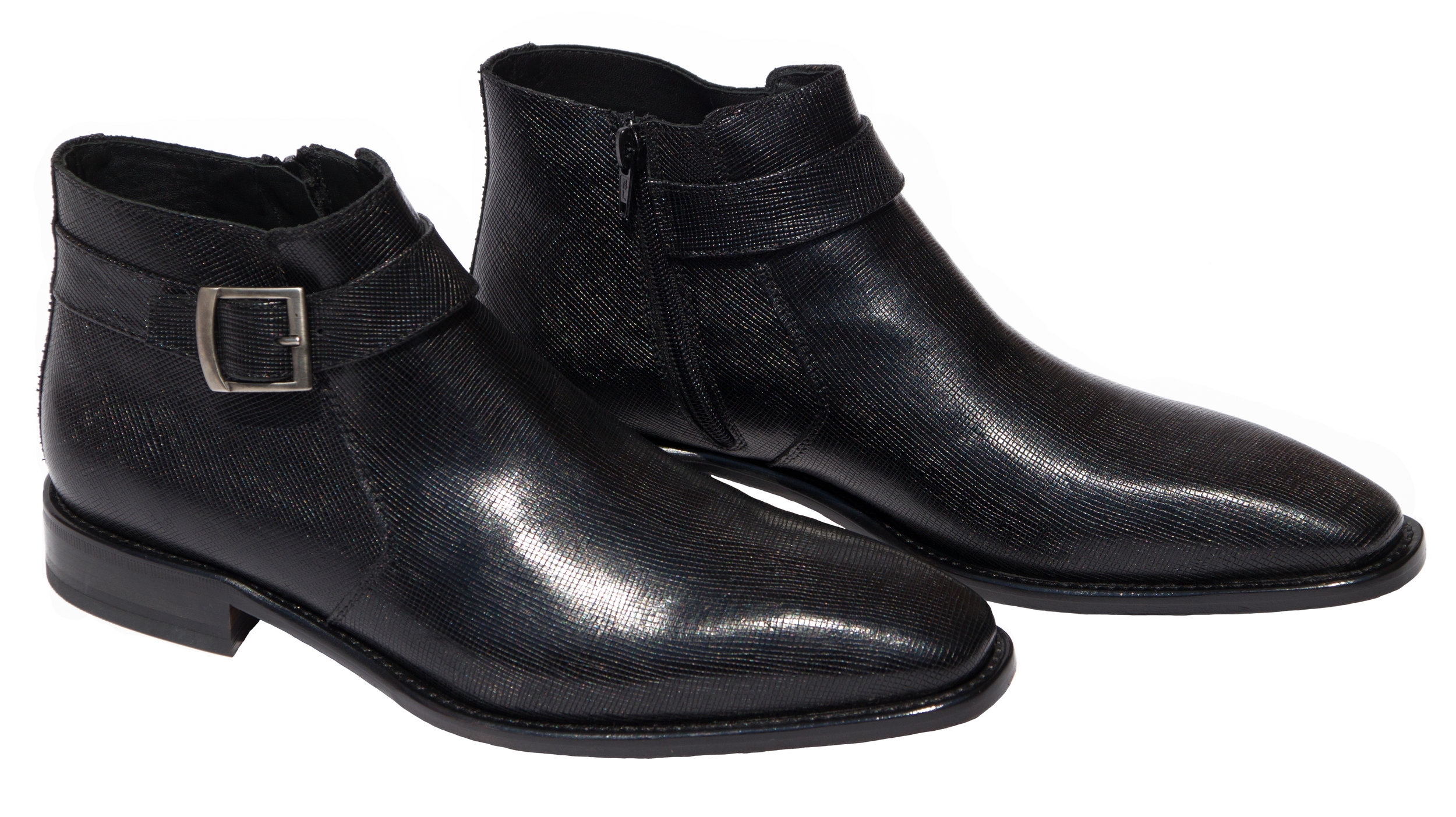 Style # 1221: Black   Saffiano Leather Ankle Boot featuring an inside zipper and a side buckle    Sizes available: 41 to 47 EU, including half sizes