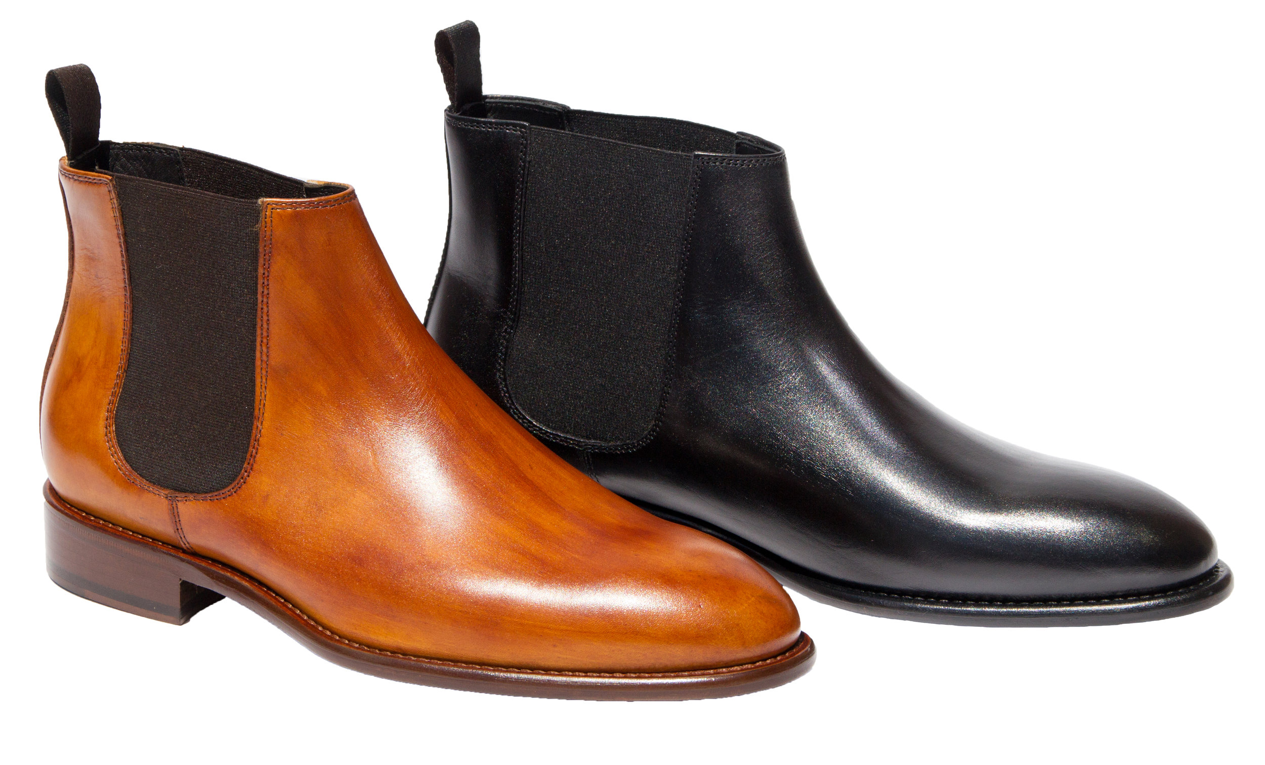Style # 1396: Caramel, Black  Cayenne Calf Artisan Handpainted Chelsea Boot    Sizes available: 41 to 47 EU, including half sizes