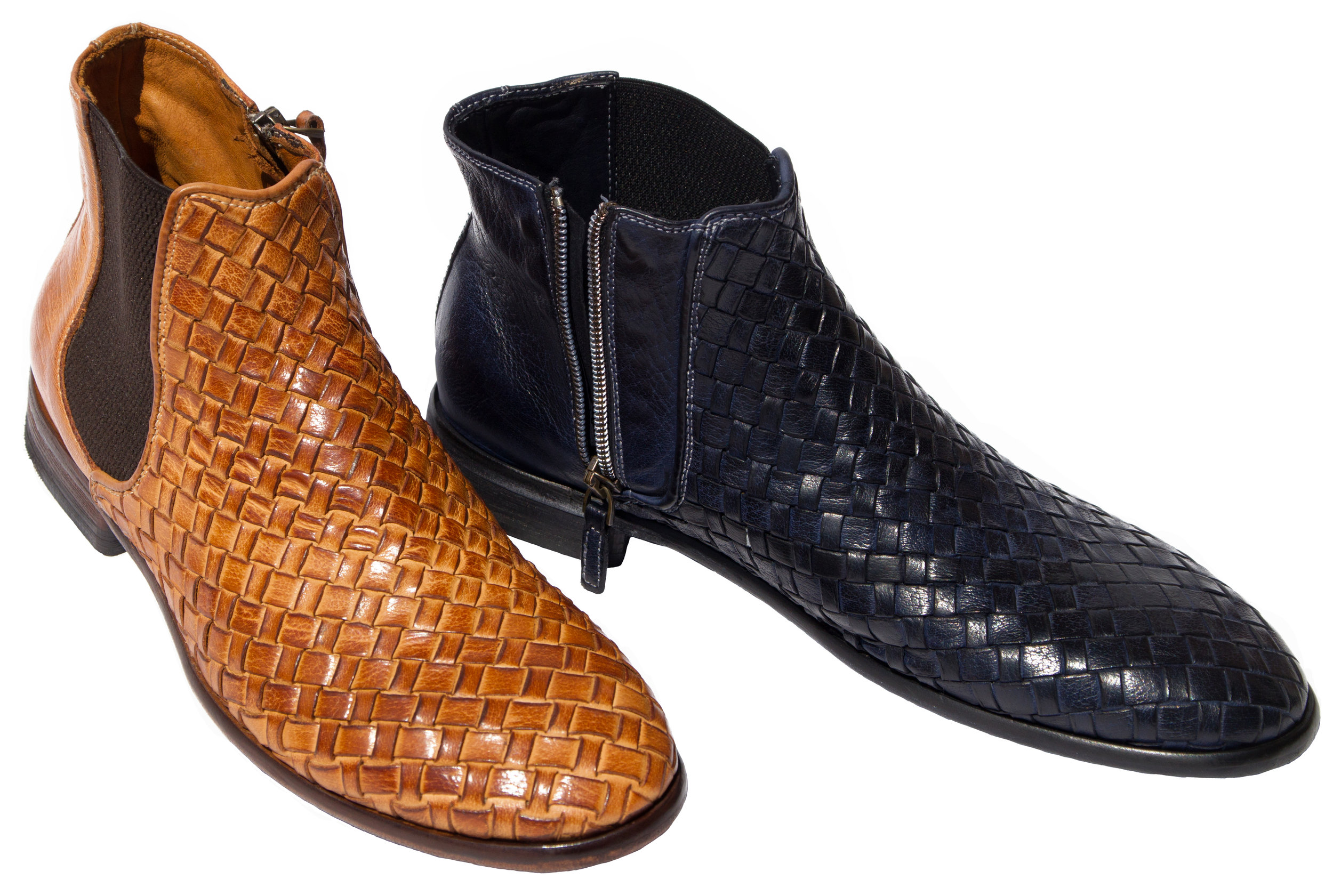 Style # H705: Brick, Navy Blue  Dip-Dyed Buffcalf Woven Chelsea Boot featuring a side zipper   Sizes available: 40 to 47 EU, including half sizes