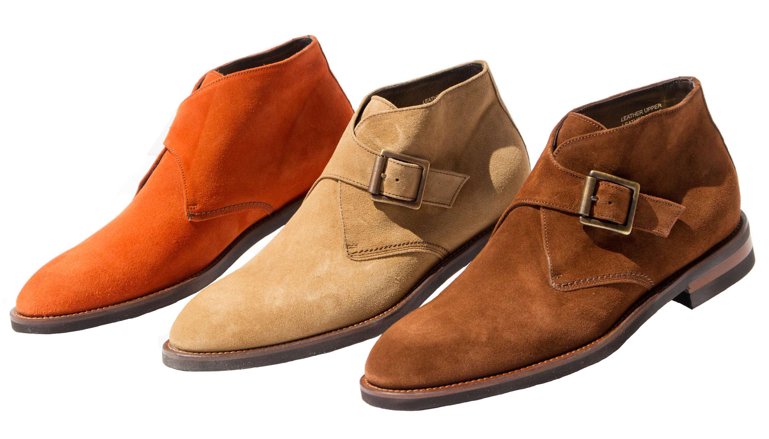 Style # H745: Burnt Orange, Taupe, Brick  Velour Suede Monkstrap Demi Boot   Sizes available: 41 to 47 EU, including half size