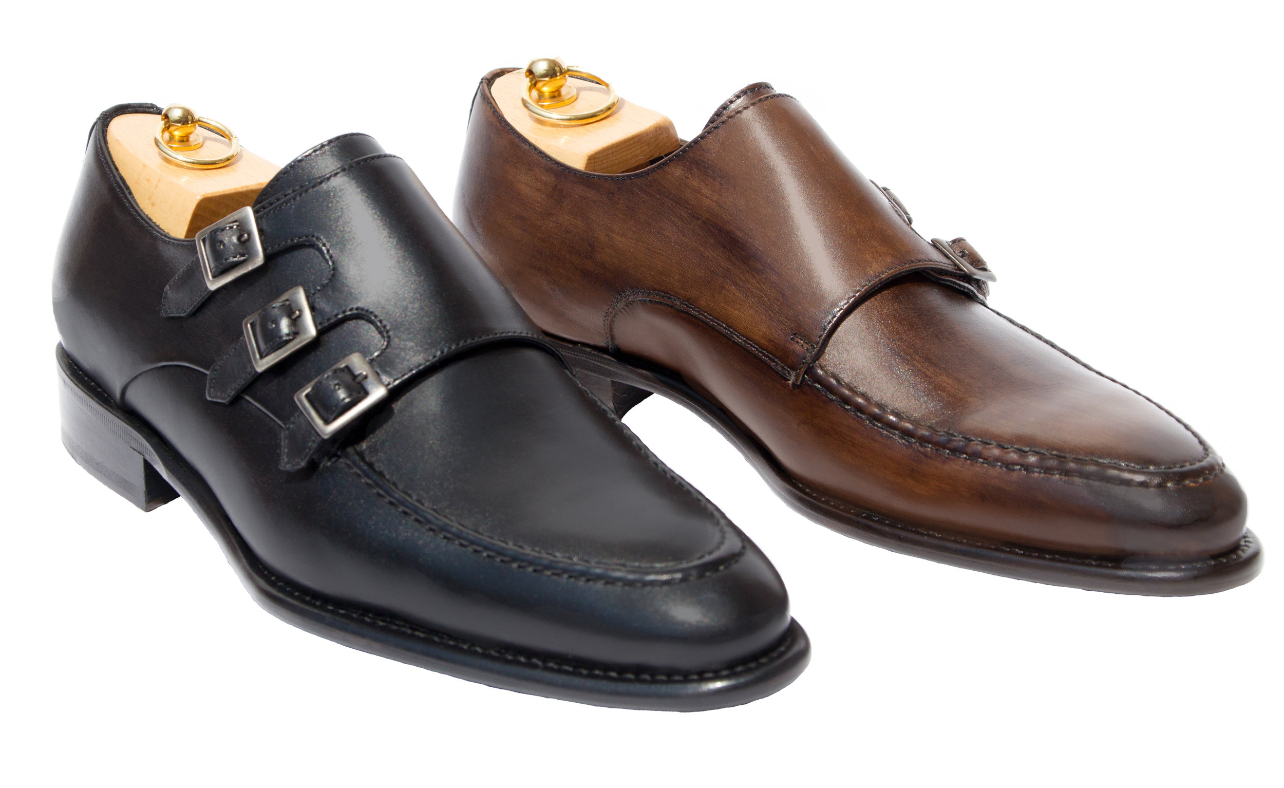 Style # H609: Black, Brown  Hand-painted Cayenne Calf Triple Monk Strap  Sizes available: 7 to 14 US, including half sizes