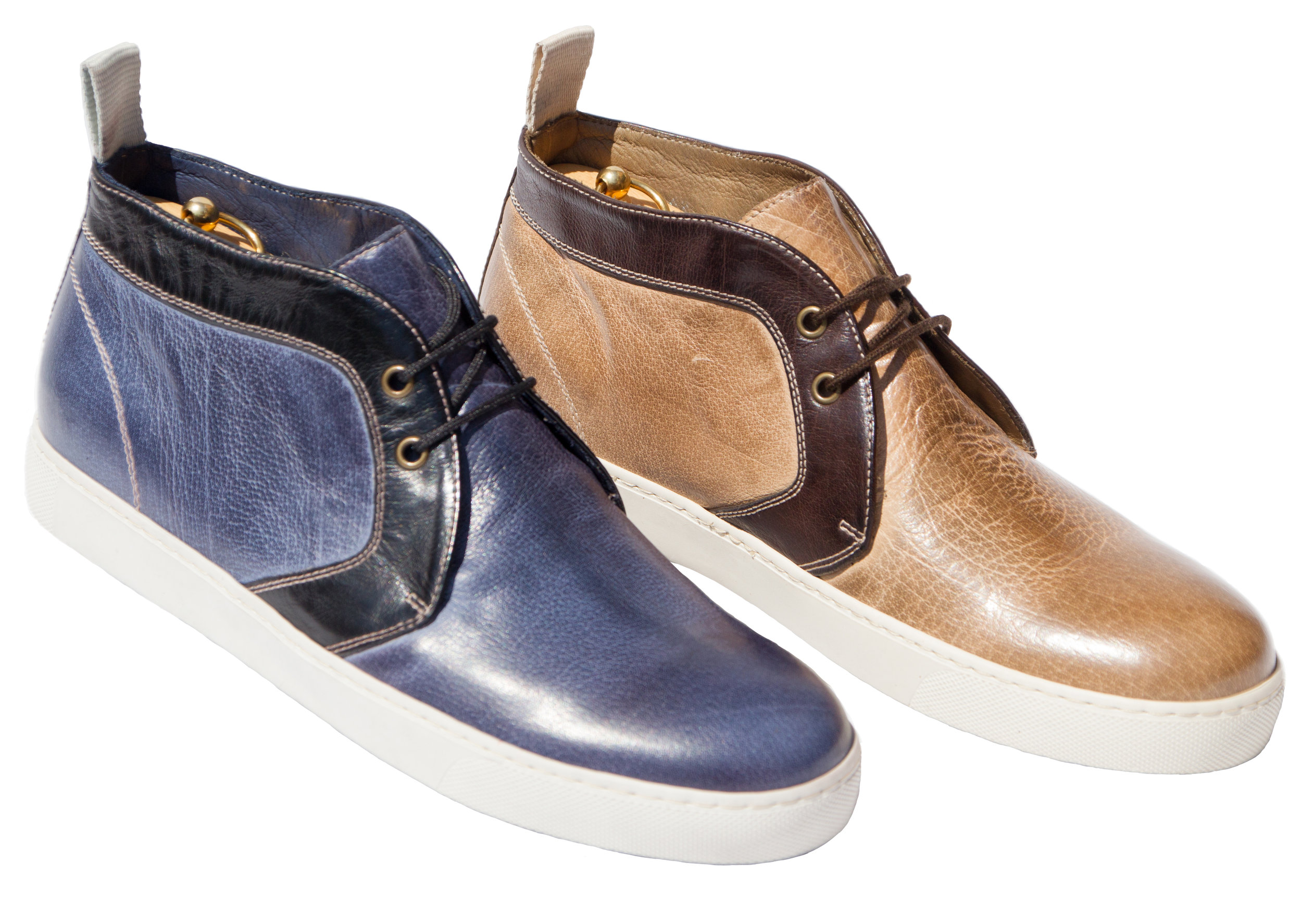 Style #3135: Denim Blue/Black, Taupe/Dark Brown  Dip-Dyed Buff Calf Chukka Boot   Sizes available: 7 to 18 US, full sizes only
