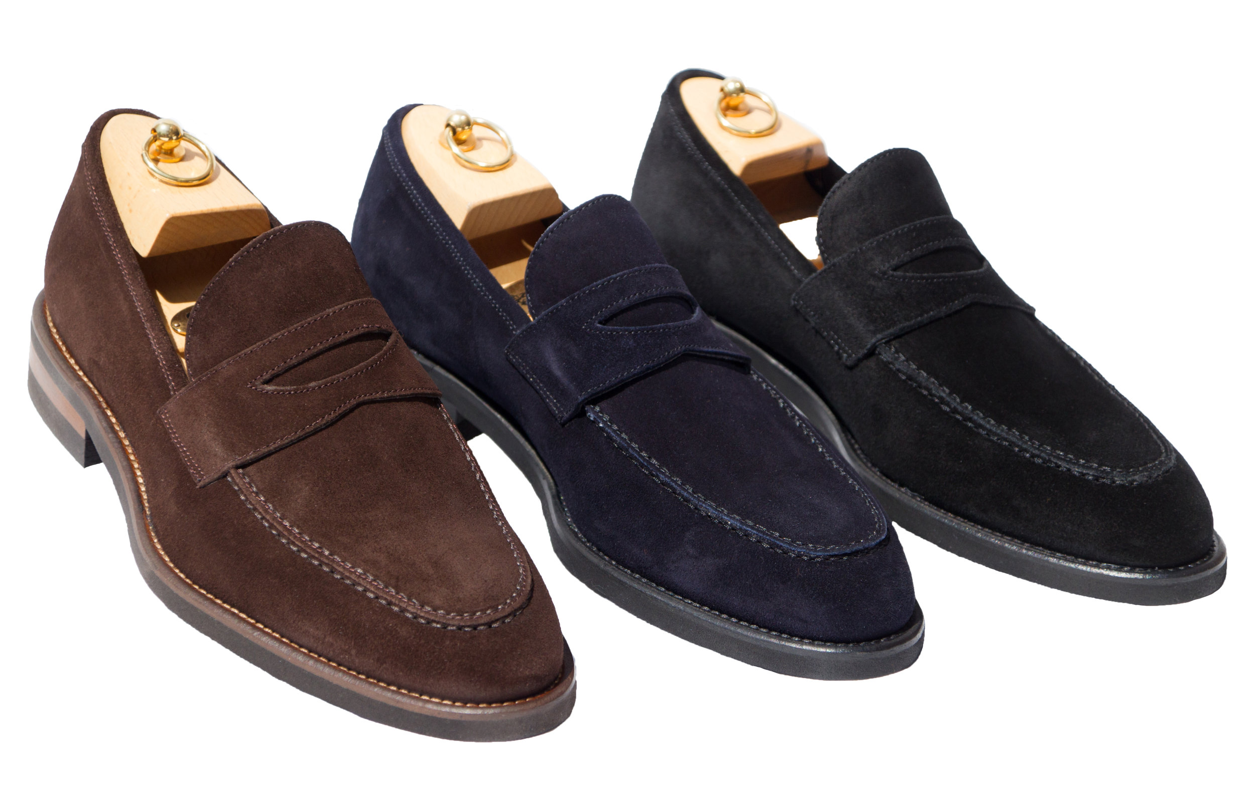 Style # H748: Chocolate Brown, Navy Blue, Black  Velour Suede Slip-On Loafer featuring a light weight Vibram rubber sole  Sizes available: 8 to 15 US, including half sizes