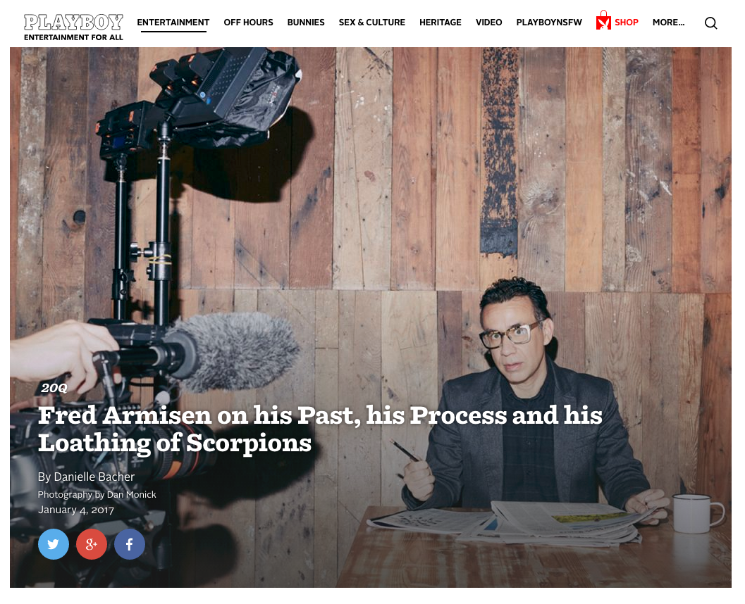 JNKARTS in Playboy Magazine behind the scenes with Fred Armisen