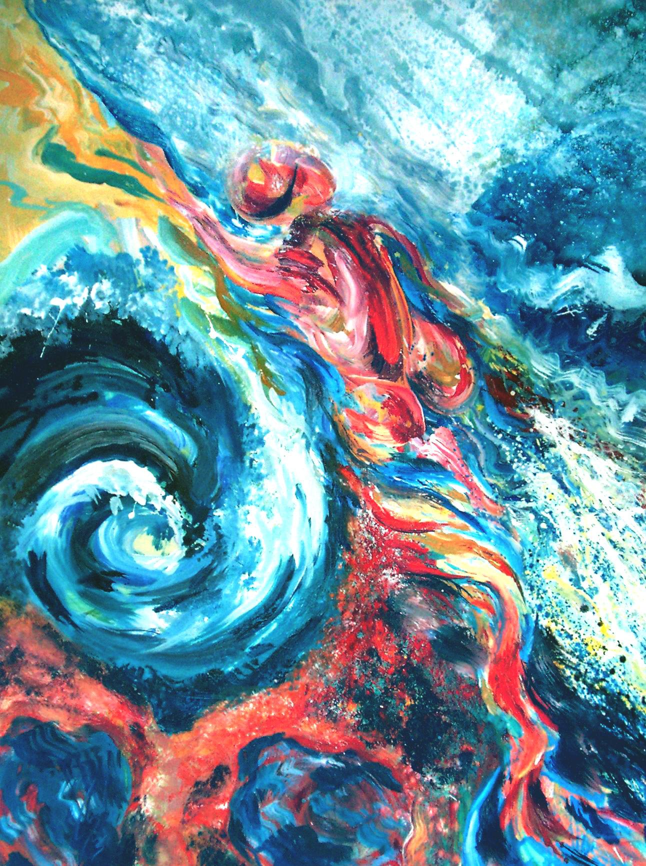 MORNING SWIM - 48 x 36, acrylic on canvas