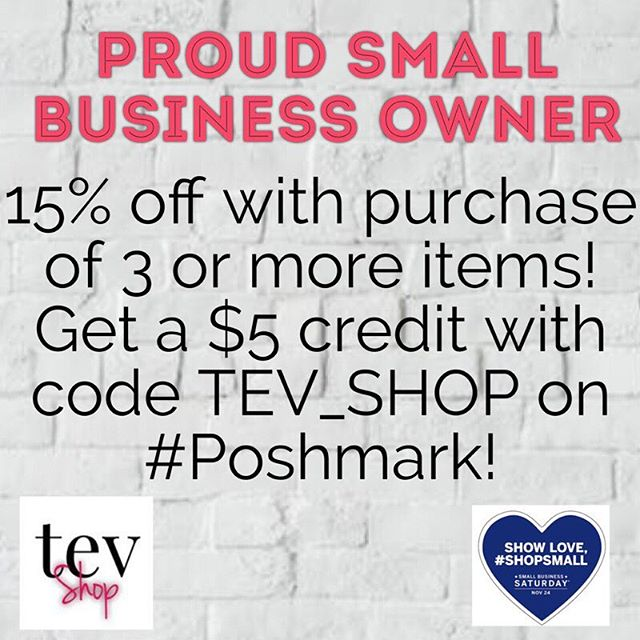 Happy Small Business Saturday!! Visit @tev_shop for a fabulous and unique mix of vintage and new clothing, shoes, and accessories!! 15% off when you purchase 3 or more items! Get a $5 credit towards purchases by using code TEV_SHOP on #Poshmark!!!👋🏾❤️ . . . #tevshop #poshmarkcloset #poshmarkseller #shopsmall #smallbusiness #ilovevintage #vintageclothing #buyblack #vintagedresses #uniquefashion #fashionblogger #vintagefashion #ootd #plussizefashion #vintagedress #plussize #costumejewelry #smallbusinessowner #smallbusinesssaturday