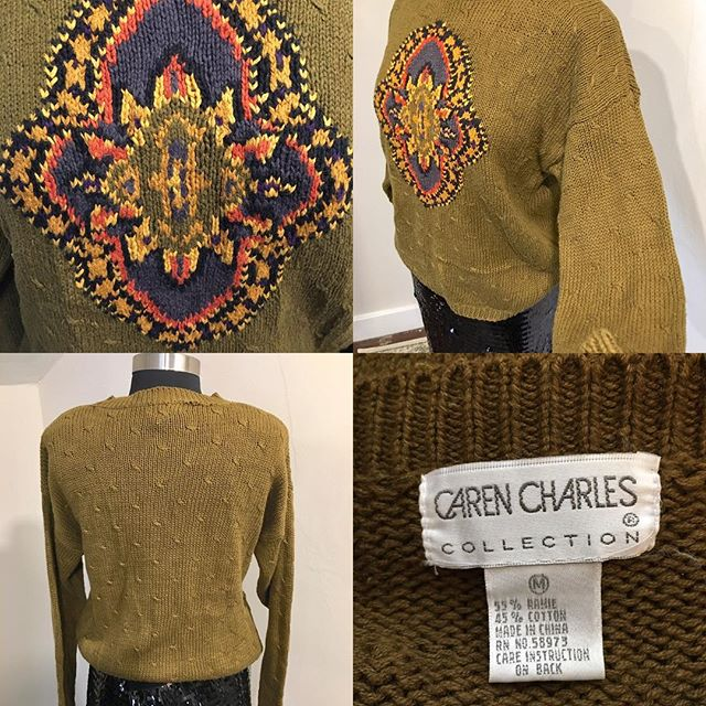 "NOW AVAILABLE: Vintage Caren Charles Collection Knit Sweater, Size M. $18. Perfect fall sweater! Olive Green with multicolor design sweater, this sweater is perfect for the season! Vintage/retro sweater in good condition. Great look at a great price! TO PURCHASE: Reply ""YES!"" below or click the #Poshmark link in bio. . . . #tevshop #carencharles #carencharlesdesigns #vintagesweater #vintage #retrosweater #vintageclothing #vintagelover #sweaterweather #sweater #sweaters #falloutfits #sweaterseason #fallfashion #fallfashion2018 #poshmarkseller #poshmarkcloset"