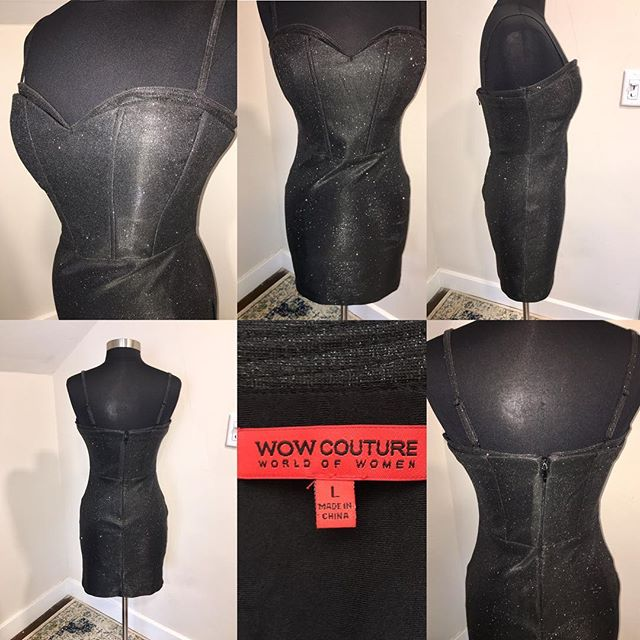 "NOW AVAILABLE: WOW Couture Black Metallic Corset Fit Mini Dress, Size L. $30. Turn heads at any holiday party in this Bodycon corset-style mini dress by WOW Couture! Fabric is black with silver metallic specks, in perfect condition. Back zip with hook, adjustable straps, and boning at bodice for shape. Sexy and sophisticated!  TO PURCHASE: Reply ""YES!"" below or click the #Poshmark link in bio. . . . #tevshop #wowcouture #bodycondress #minidress #bodyconfident #clubwear #corsetdress #corset #wowdress #blackdress #bandagedress #nyestyle #holidayfashion #poshmarkseller"