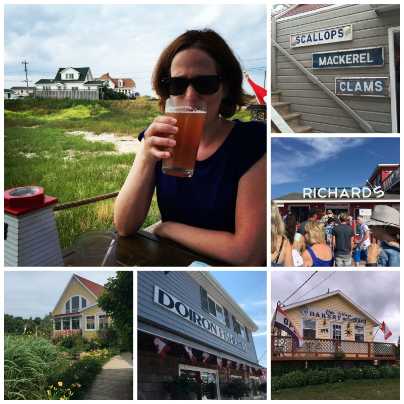 Top left - me sipping beer from PEI brewing company at the blue mussel cafe; from bottom left to top right: pei preserve company, dorion's fisheries; olde village bakery in north rustico; richard's fresh seafood and a wall in blue mussel cafe.