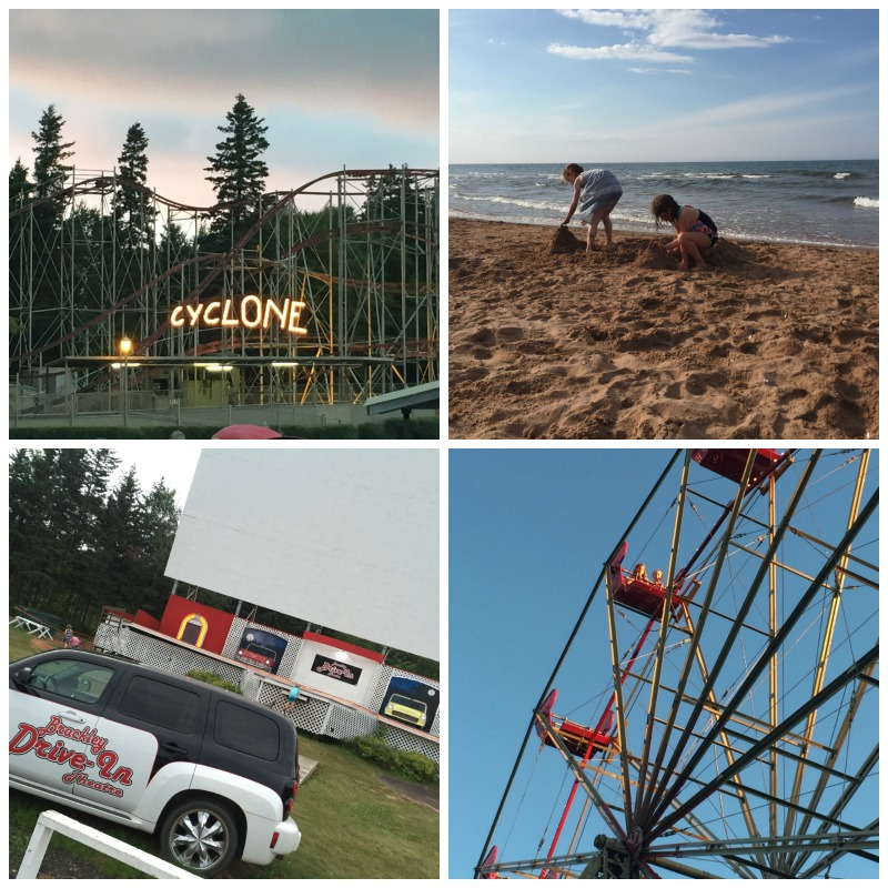 From top left: roller coaster at SandSPIT, BRACKley beach, brackley drive-in theatre and the ferris wheel at sandspit