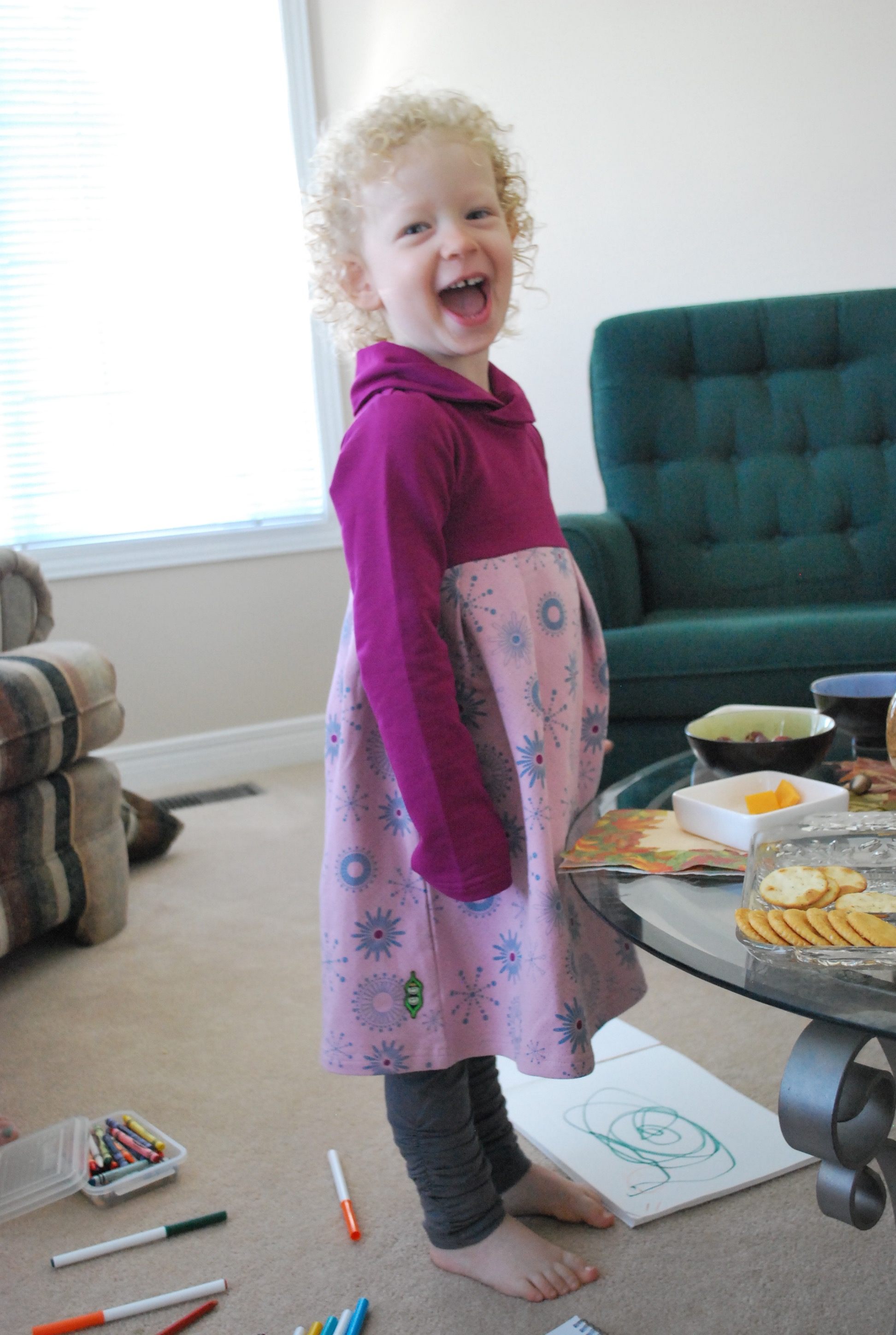 Peekaboo Beans Whole Hearted Dress with Long Embrace Leggings in charcoal.