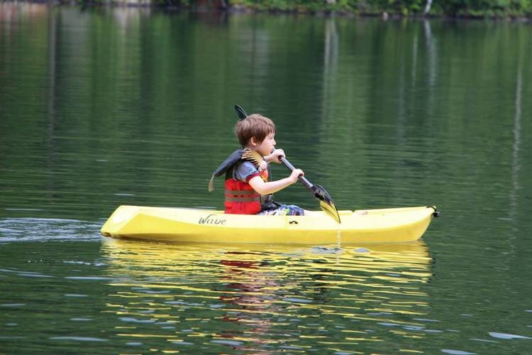 Child in a small sit on kayak
